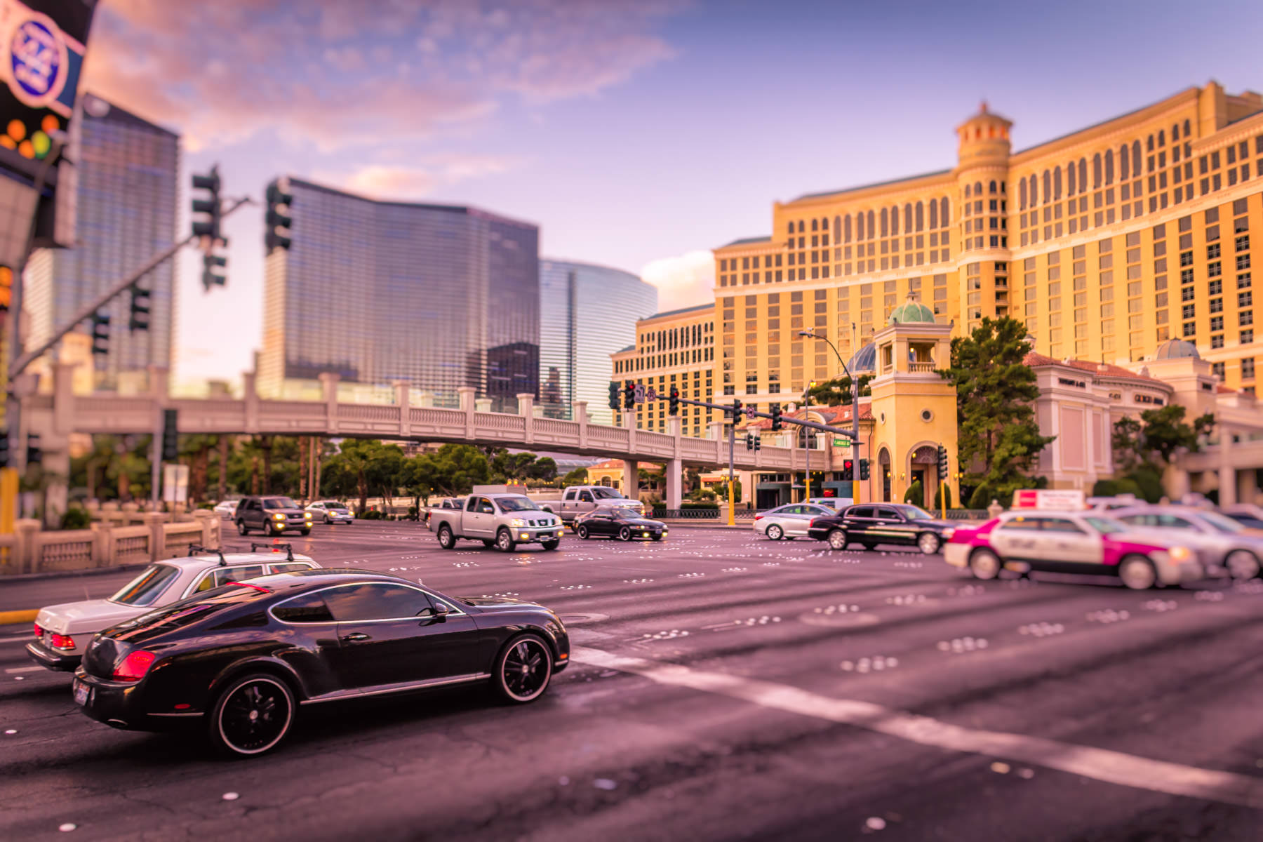Early-morning traffic at the intersection of Flamingo Road and the Las Vegas Strip.