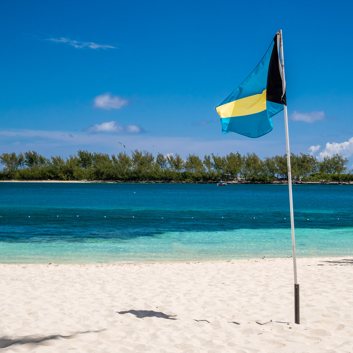 The flag of The Bahamas, planted on a beach at the British Colonial Hilton, Nassau.