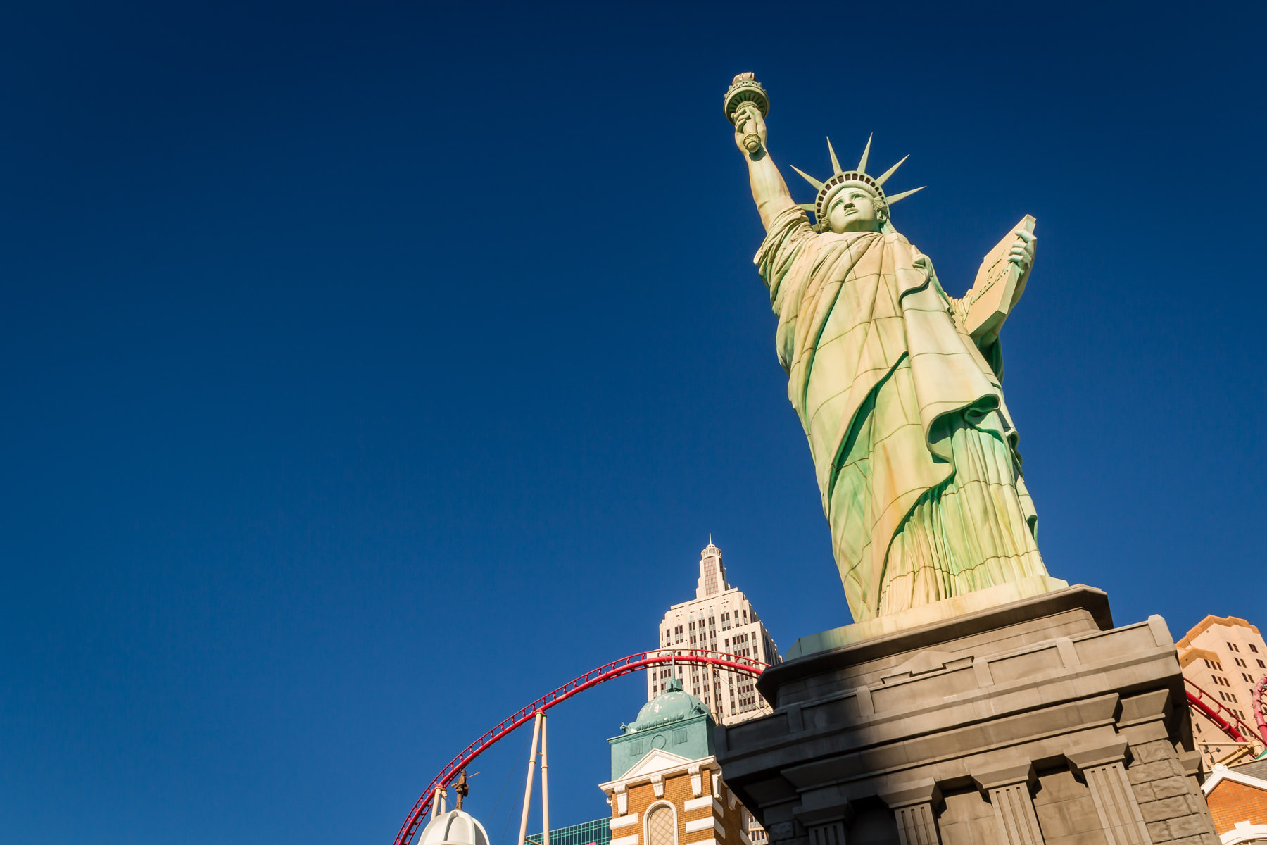 This replica Statue of Liberty rises over Las Vegas' New York New York Hotel & Casino.