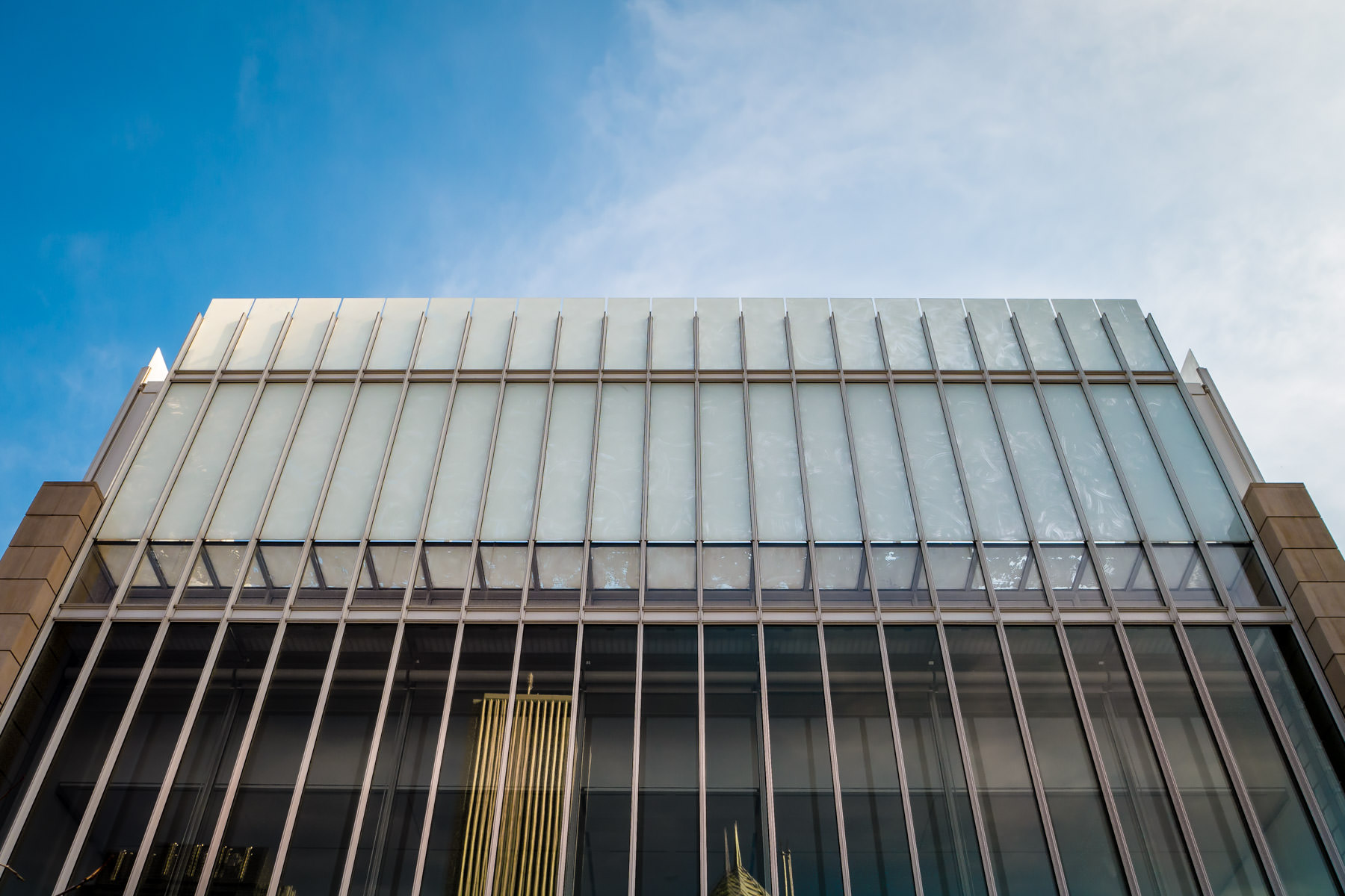 Exterior architectural detail of the Renzo Piano-designed Modern Wing of the Art Institute of Chicago.