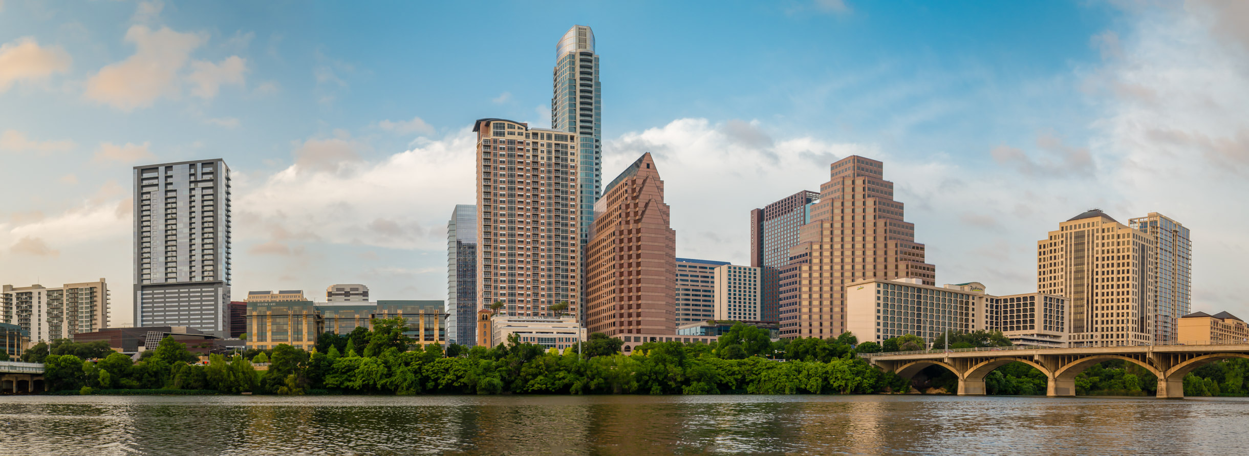 Austin, Texas' skyline along the north shore of Lady Bird Lake (formerly known as Town Lake). (Bonus: Click the photo for a larger view!)