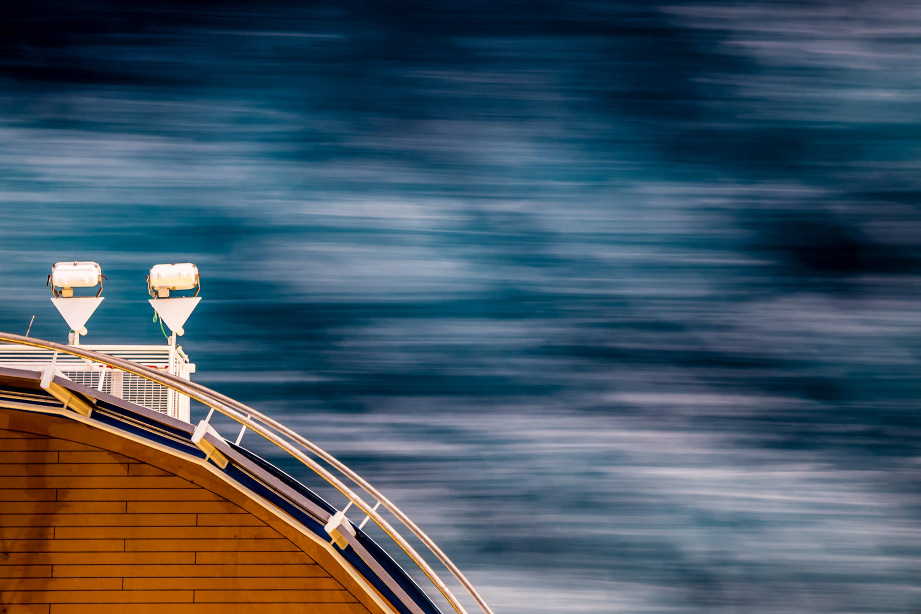 Lights protrude from the deck of the cruise ship Carnival Magic as she speeds through the Gulf of Mexico.