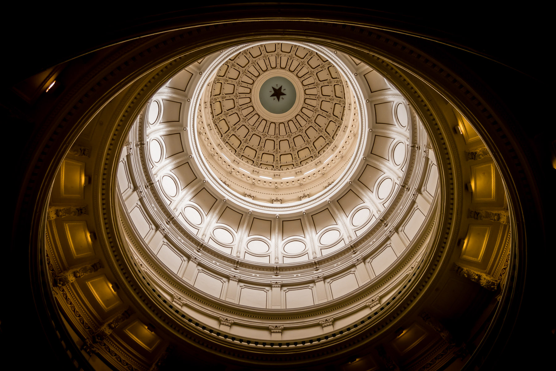 Interior detail of the rotunda and dome of the Texas State Capitol, Austin.