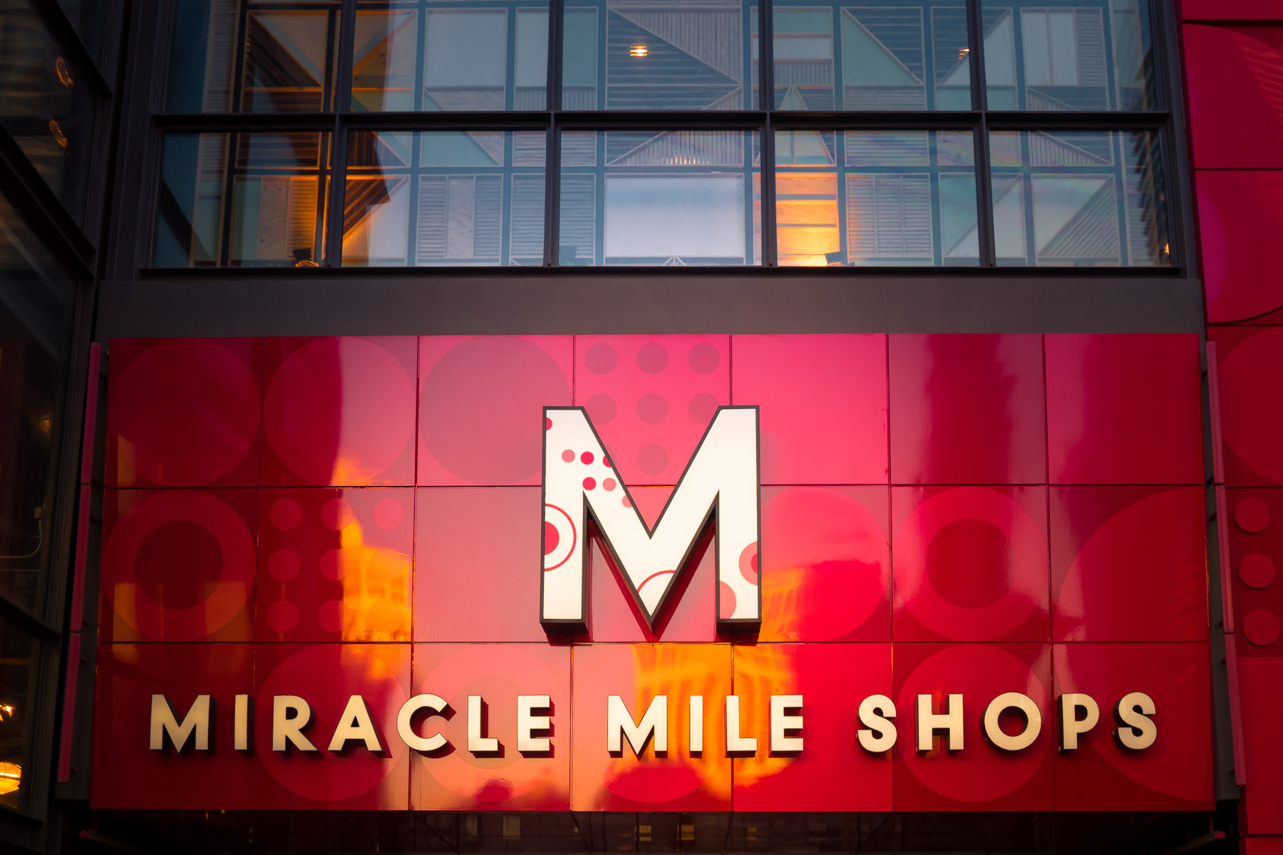 The sign above the main entrance to the Miracle Mile Shops at Planet Hollywood Hotel & Casino, Las Vegas.