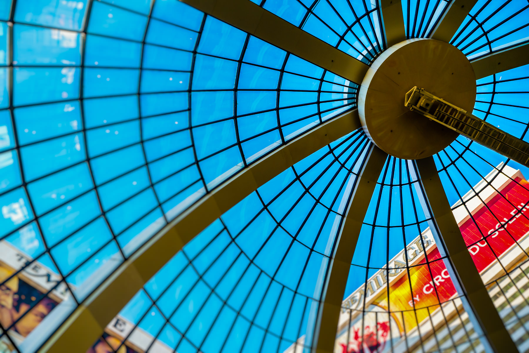 The inner surface of the glass dome at The Mirage, Las Vegas.