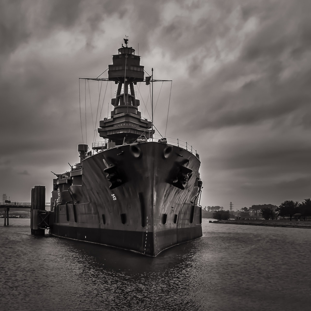 The USS Texas, commissioned in 1914, saw action in both World Wars, including D-Day and at Iwo Jima and is the only extant World War I-era dreadnoughts.  Since 1948, she has been permanently moored adjacent to the Houston Ship Channel near the San Jacinto Monument to act as a museum ship.