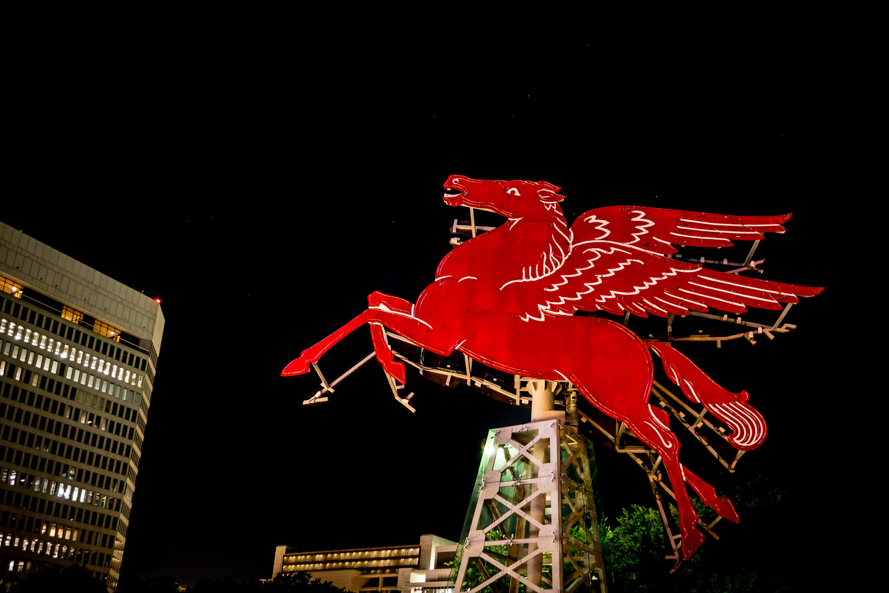 Recently-restored, this iconic red pegasus originally stood atop Dallas' Magnolia Petroleum Building. Erected in 1934, it became a symbol of the city until it was replaced by a reproduction in 1999. This original is now located at the Omni Dallas Hotel.