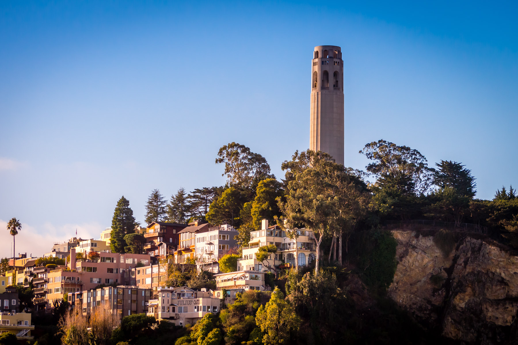 San Francisco's 210-foot-tall Coit Tower rises above the surrounding Telegraph Hill neighborhood.