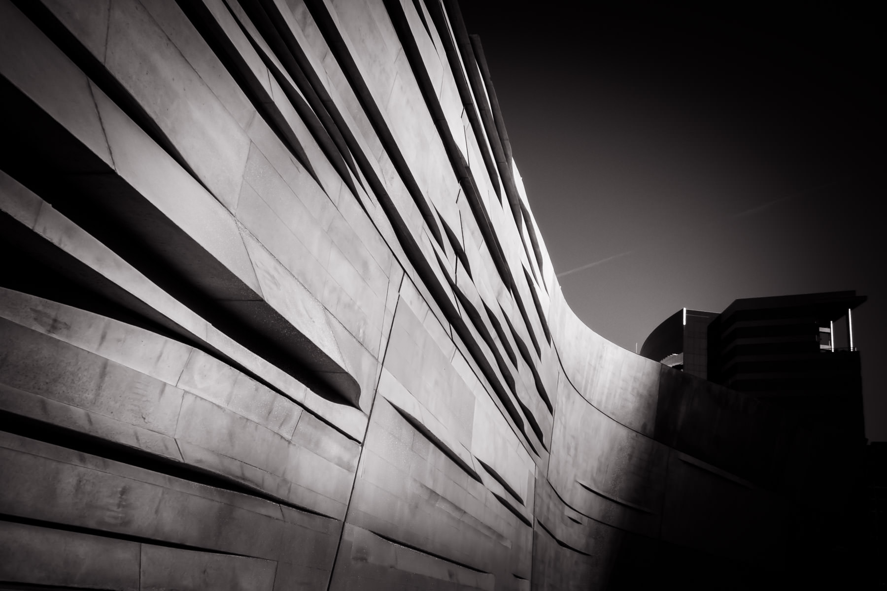 Exterior architectural detail of Dallas' Perot Museum of Nature and Science.