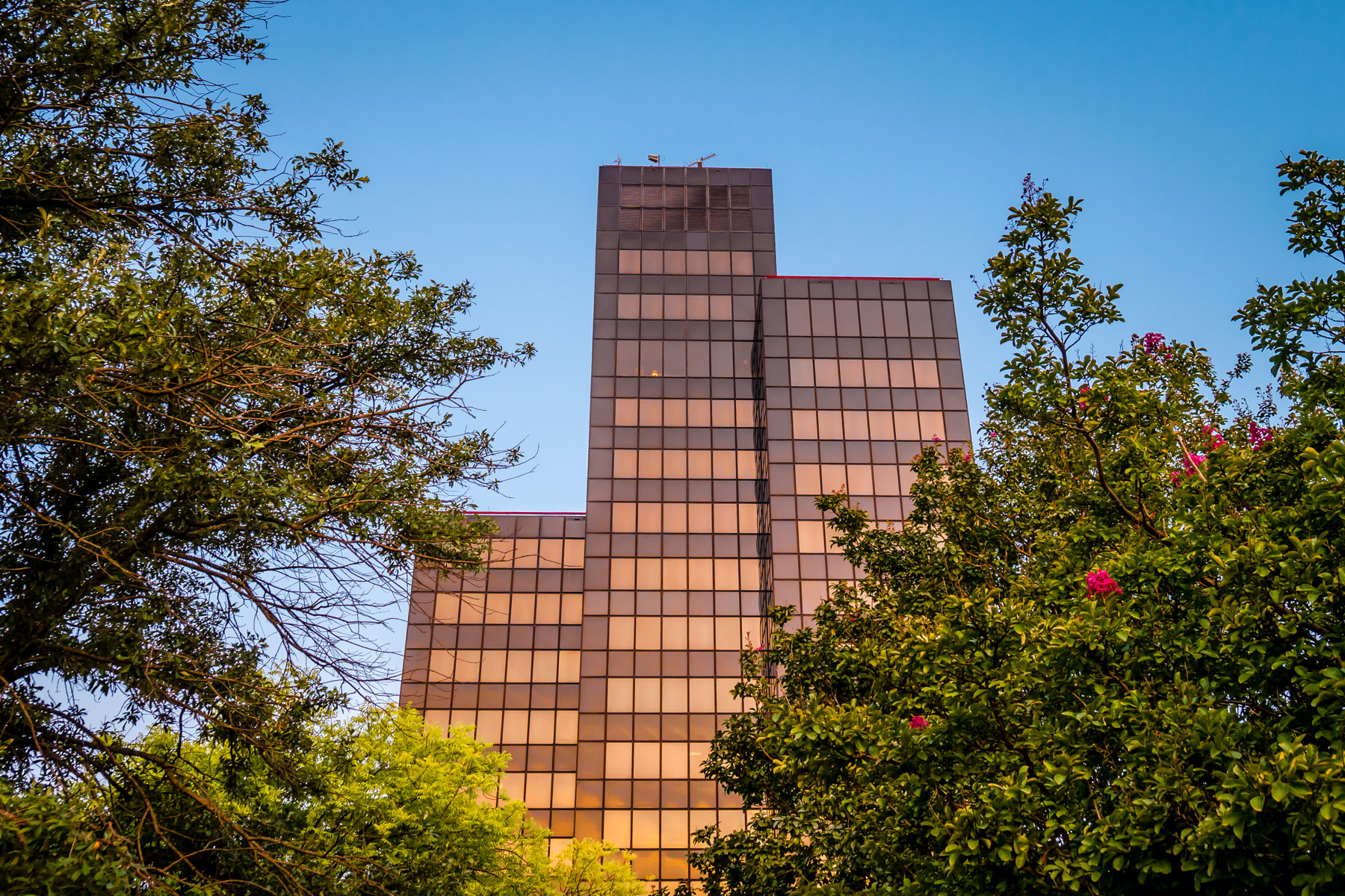 Tyler, Texas' Plaza Tower catches the morning sun as the city awakens on a warm summer day.