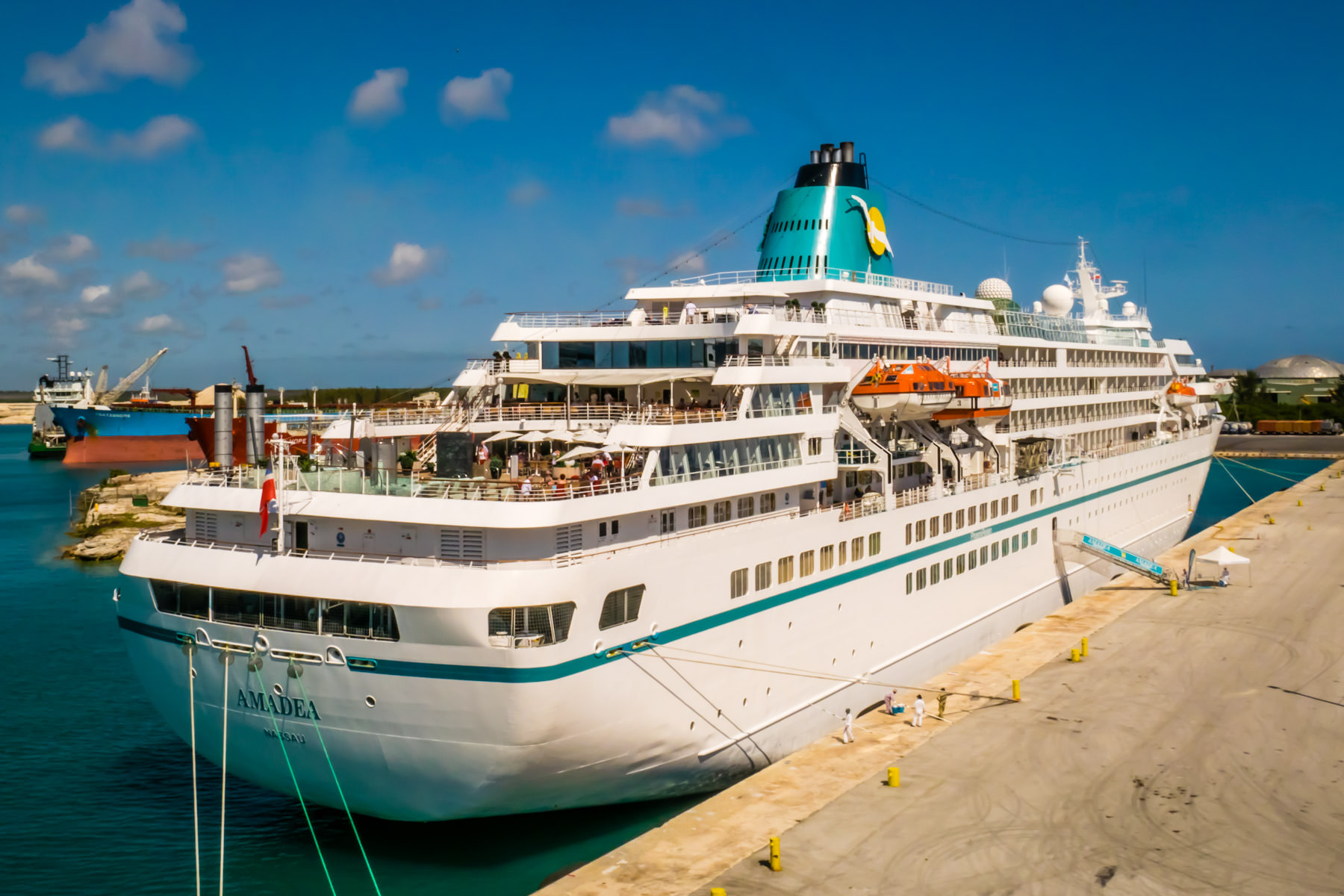 The cruise ship MS Amadea, docked in Freeport, Bahamas.