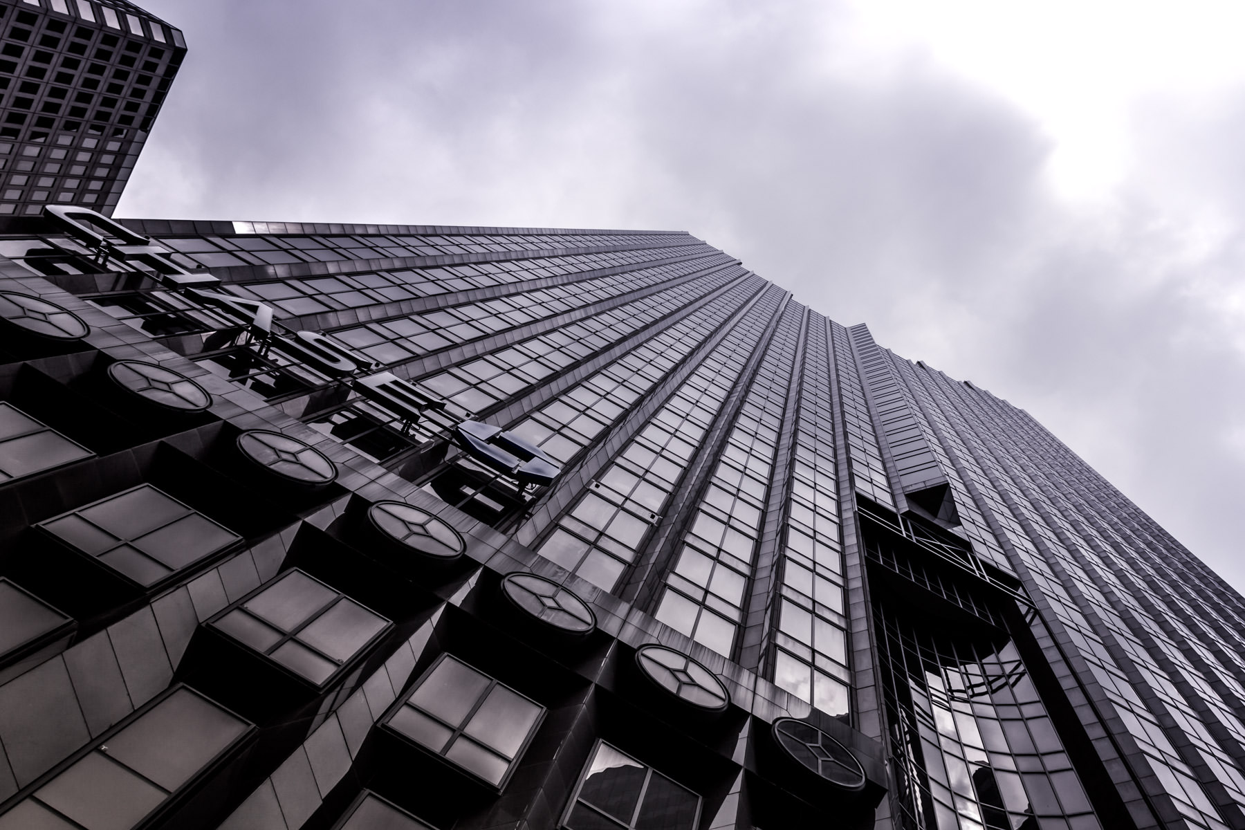 Dallas' 55-story-tall Chase Tower rises into the overcast sky of North Texas.