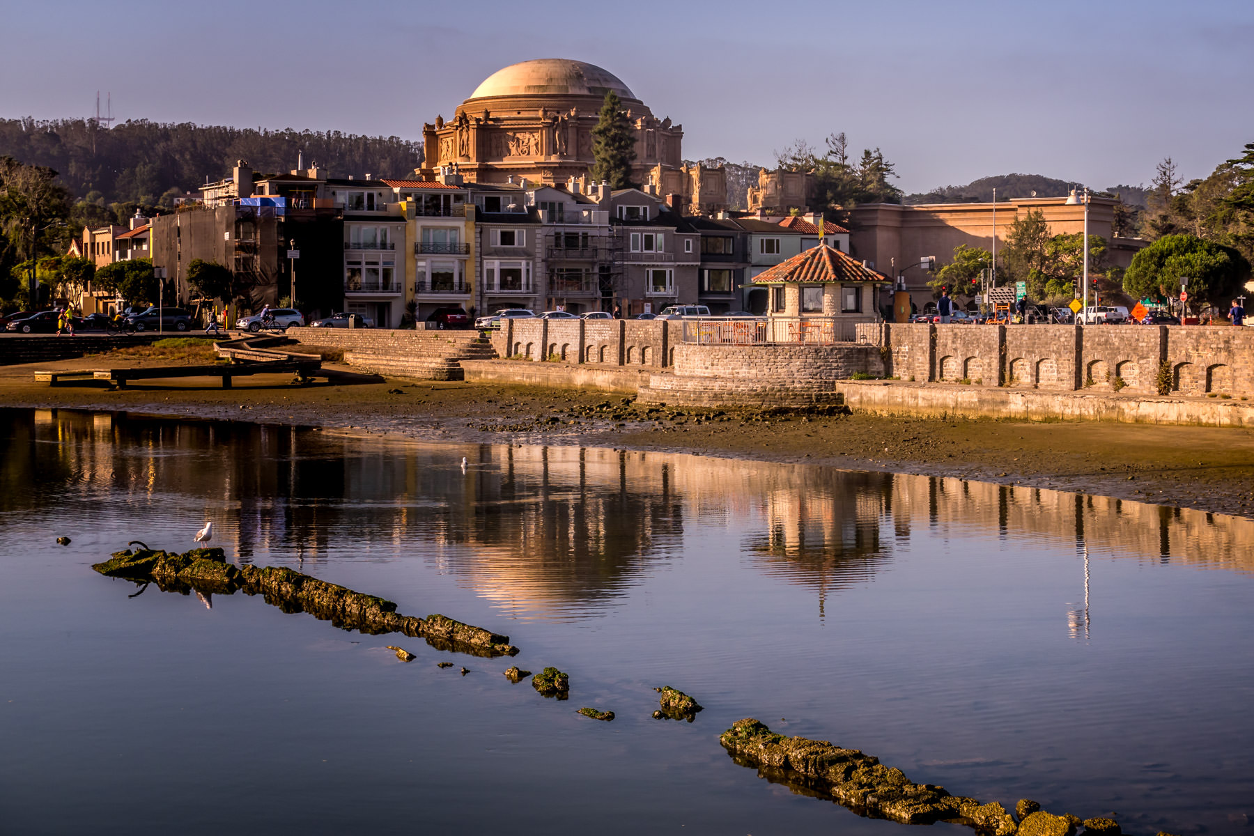 San Francisco's Palace of Fine Arts rises above the surrounding Marina District neighborhood as seen from nearby Crissy Field.