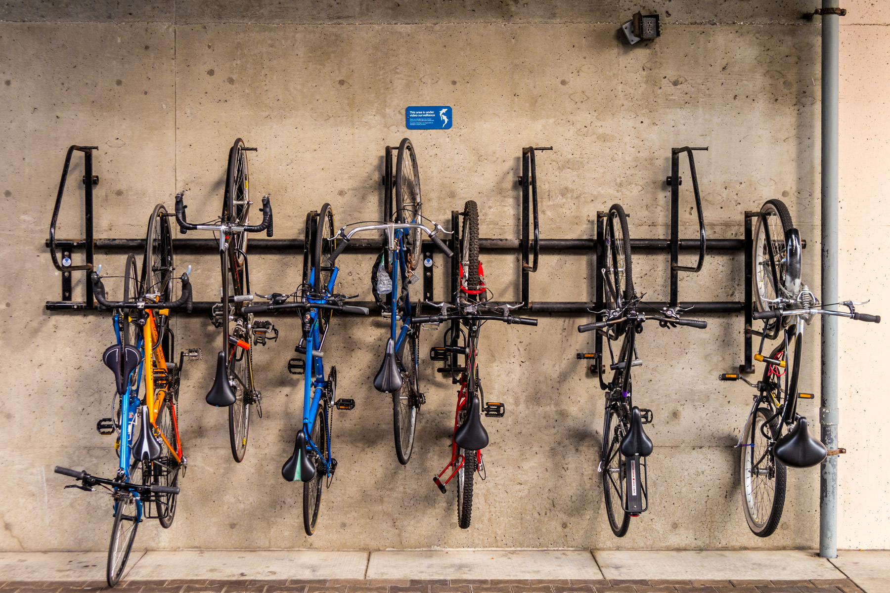 Bicycles mounted on a vertical bike rack at San Francisco's Pier 39.