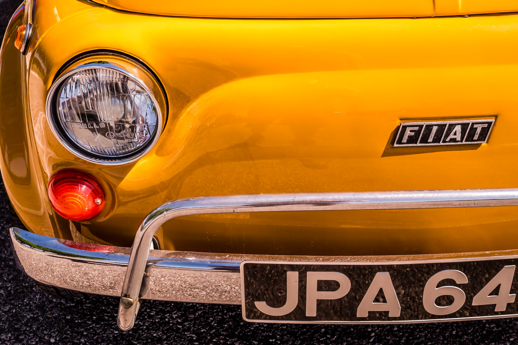 Detail of a classic Fiat 500, spotted at Dallas' All British and European Car Day.