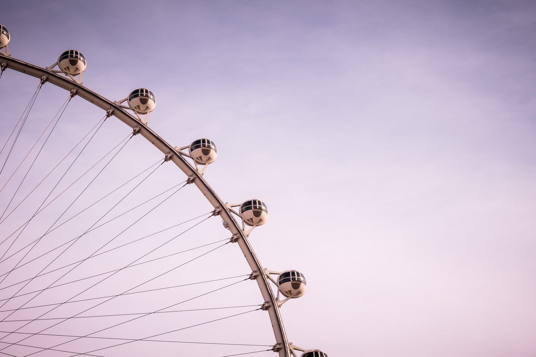 Detail of gondolas on the High Roller, the world's tallest observation wheel, sited adjacent to the Las Vegas Strip.
