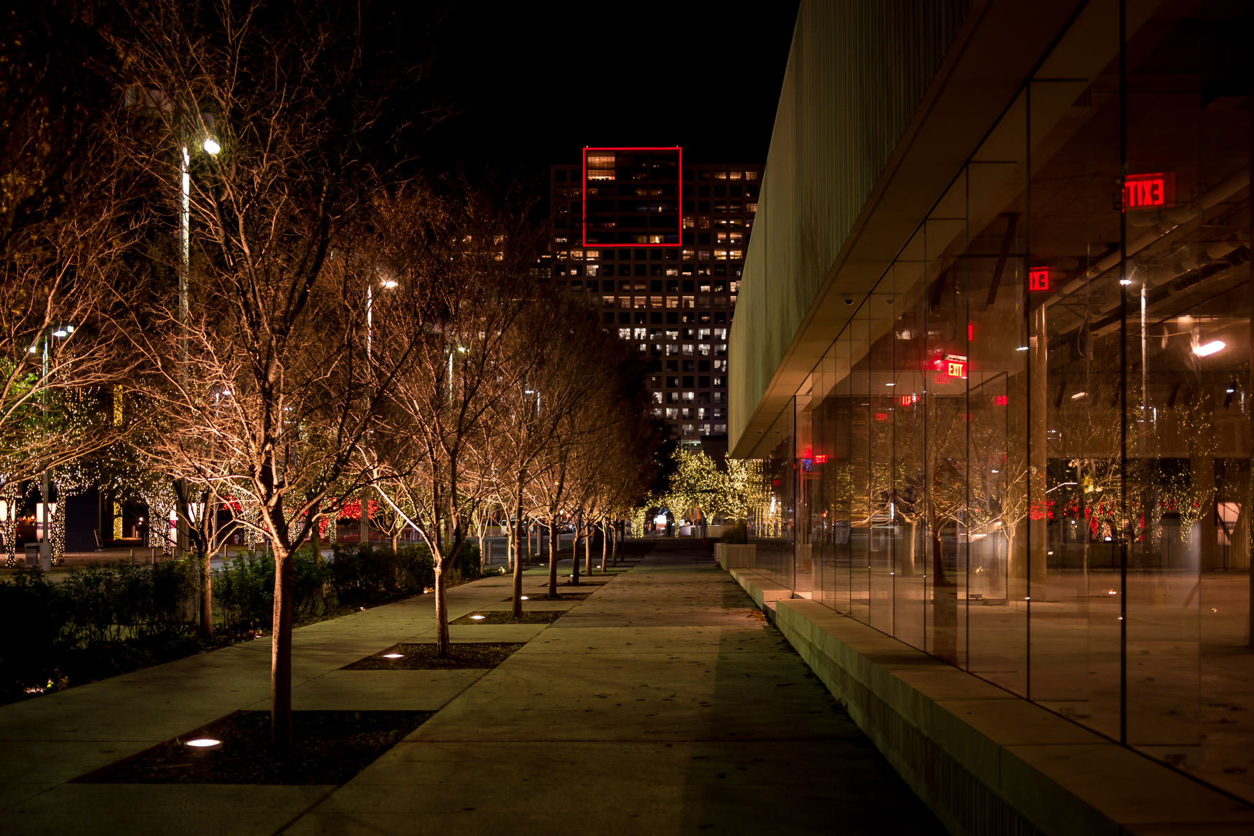 The Dallas Arts District's One Arts Plaza as seen from a sidewalk adjacent to the nearby HALL Arts.
