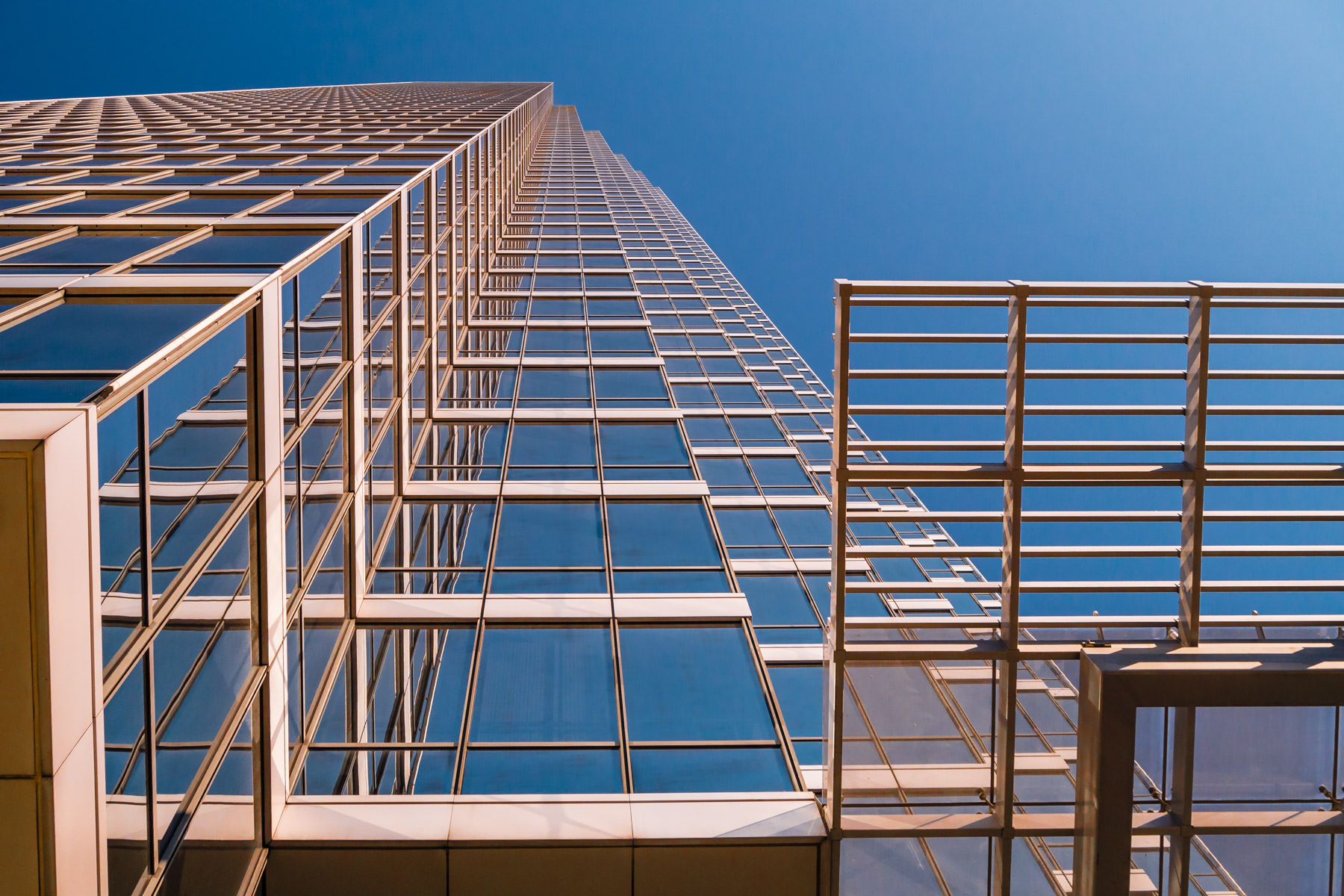 Downtown Dallas' 72-story-tall Bank of America Plaza rises into the clear North Texas sky.
