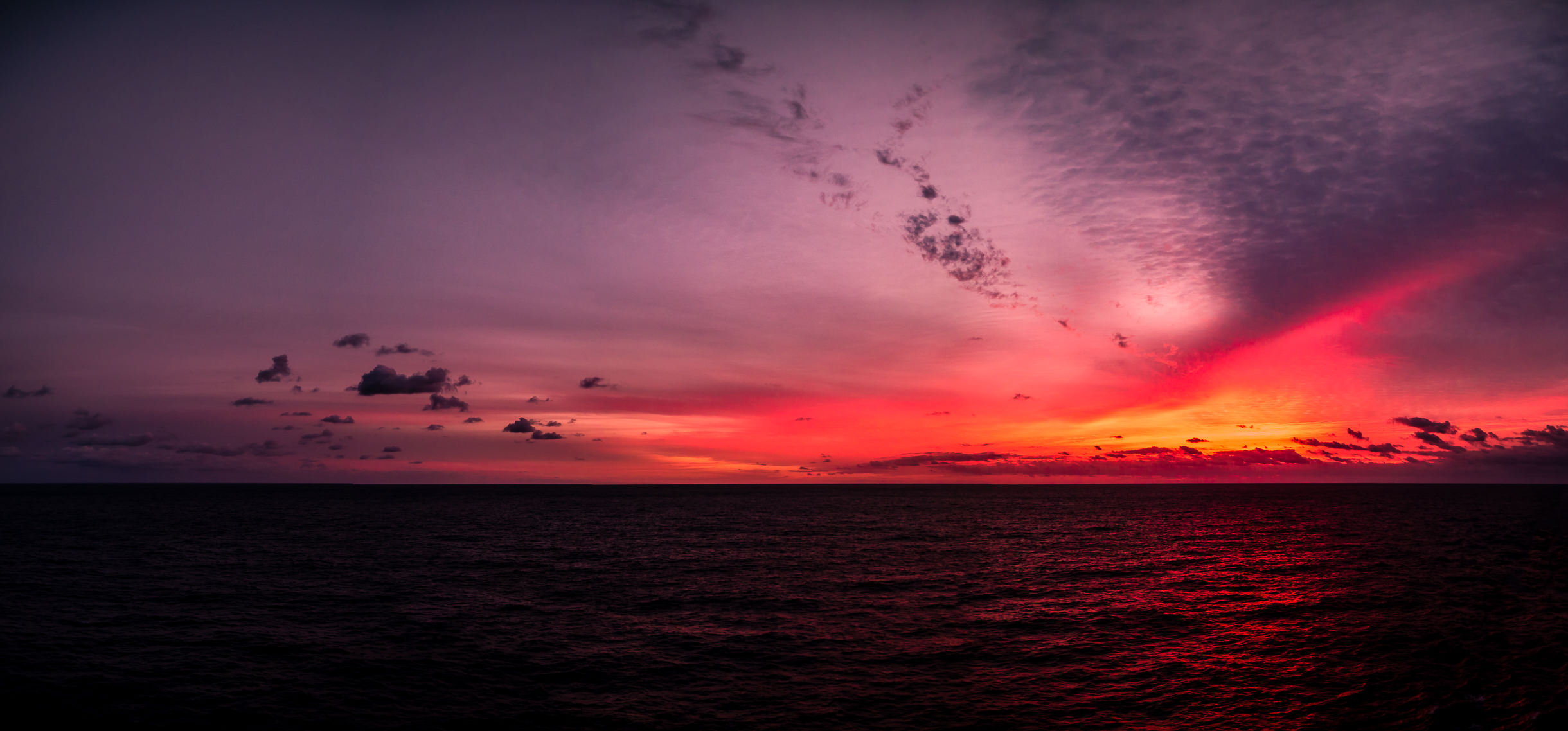 The sun rises to begin a new day on the Gulf of Mexico, roughly midway between the Yucatán Peninsula and the Texas Coast.