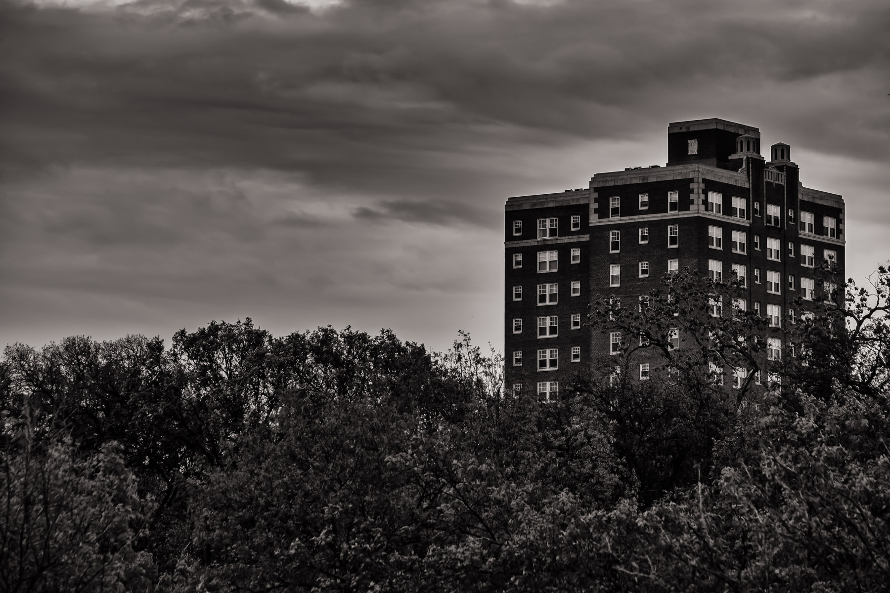 Forest Park Tower, built in 1930, rises over the surrounding trees of the Southside area of Fort Worth, Texas.