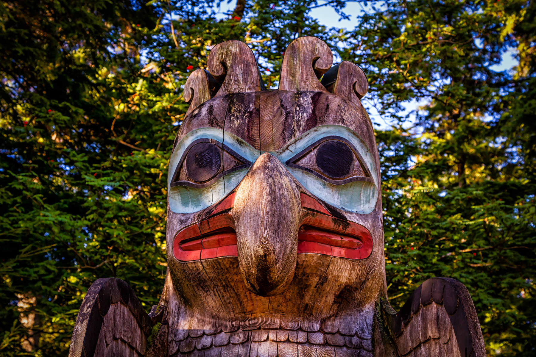 Detail of the Thunderbird and Whale totem pole at Ketchikan, Alaska's Totem Bight State Historical Park.