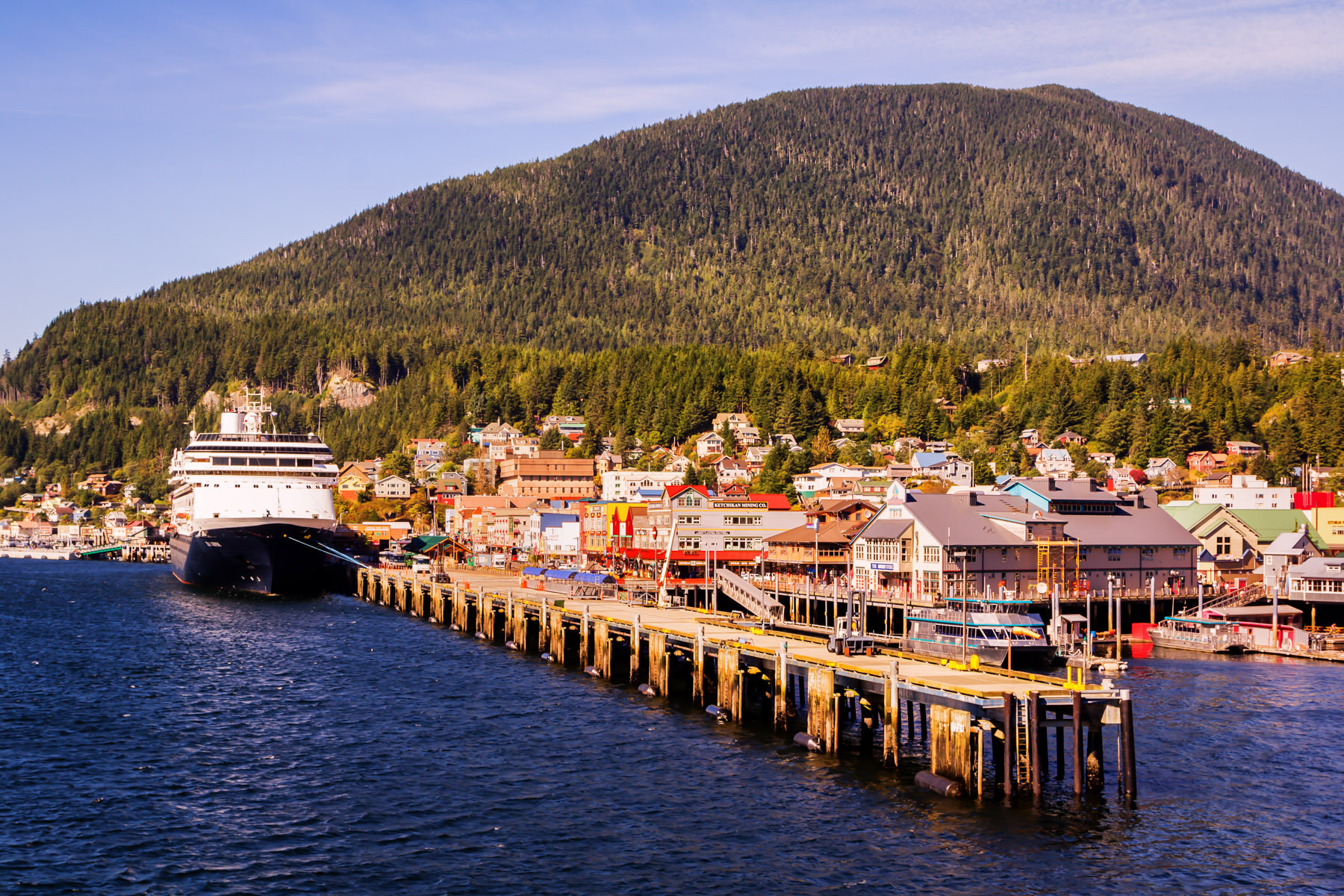 The Holland America Line cruise ship MS Zaandam docked at the cruise ship pier in Ketchikan, Alaska.