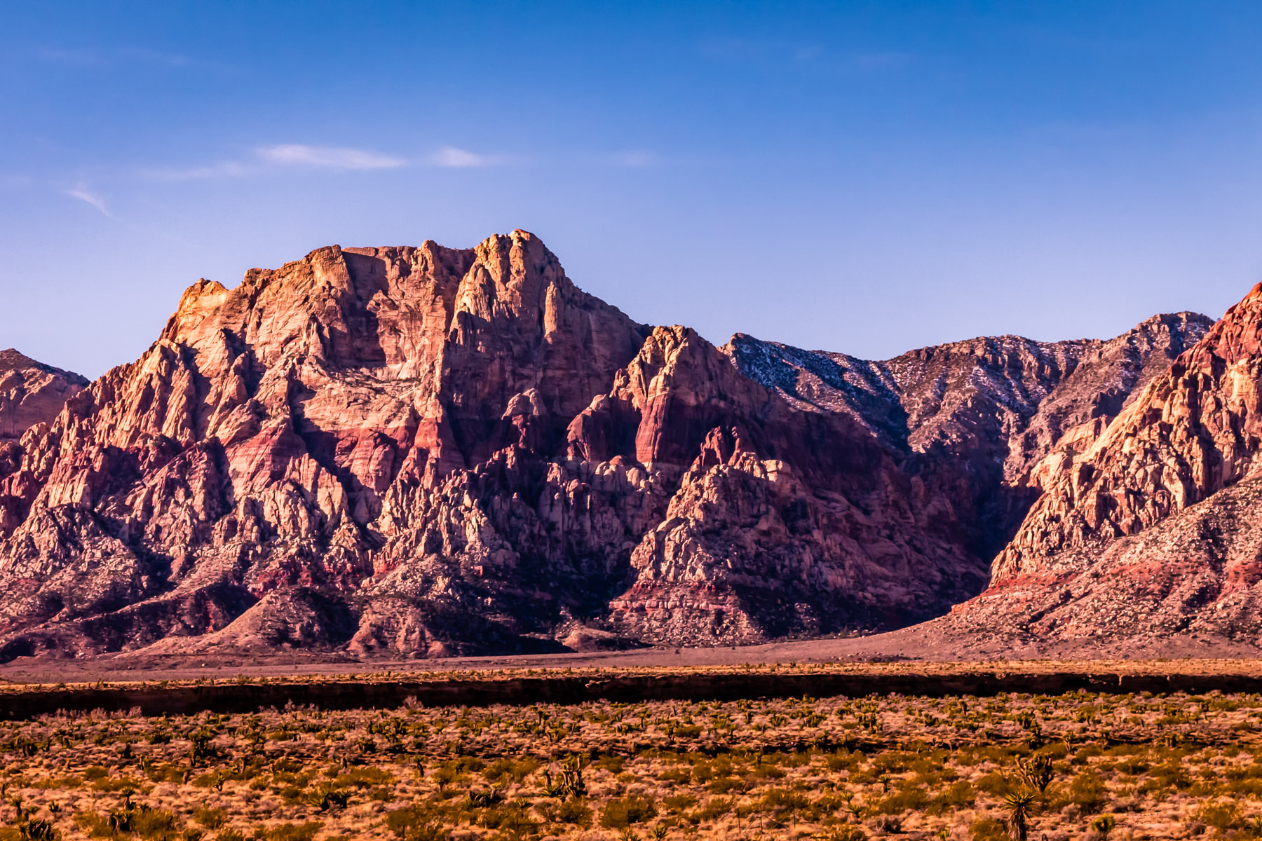 Mountains rise in the distance at Nevada's Red Rock Canyon.