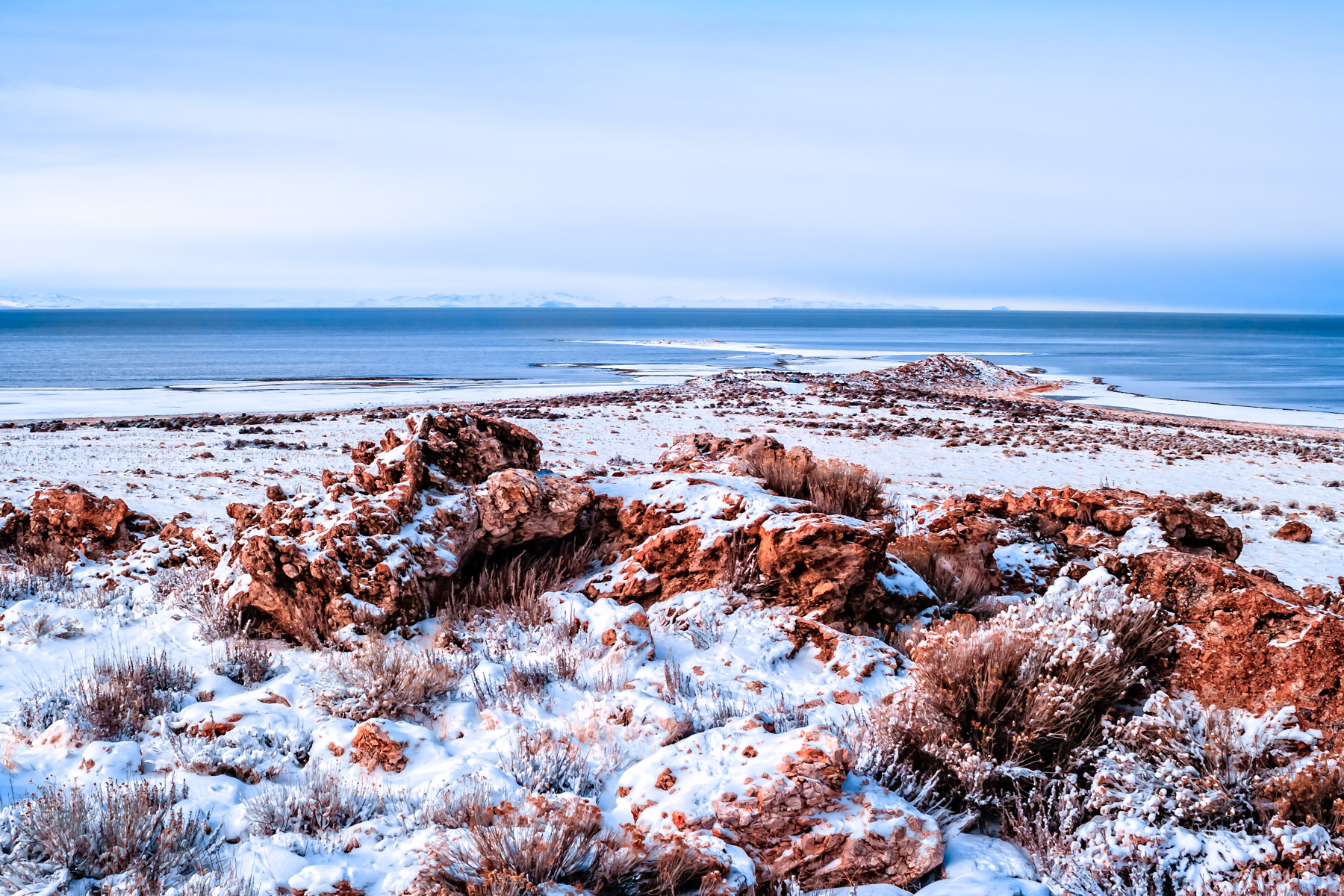 Rocks and brush protrude from the snow-covered landscape of the Great Salt Lake's Antelope Island in Utah.