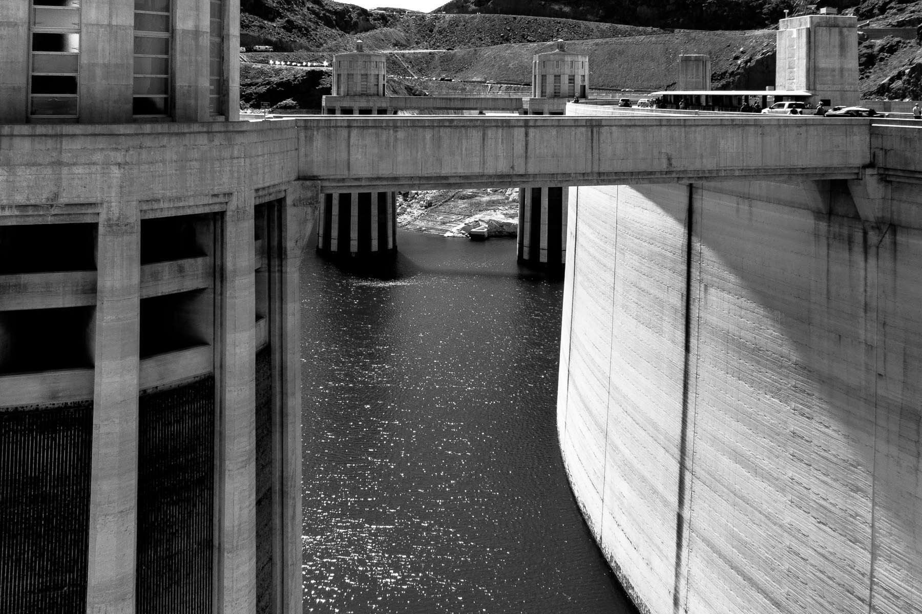 The Lake Mead side of Hoover Dam, showing the 395-foot-tall intake towers that supply the electricity-generating turbines inside the structure with water.