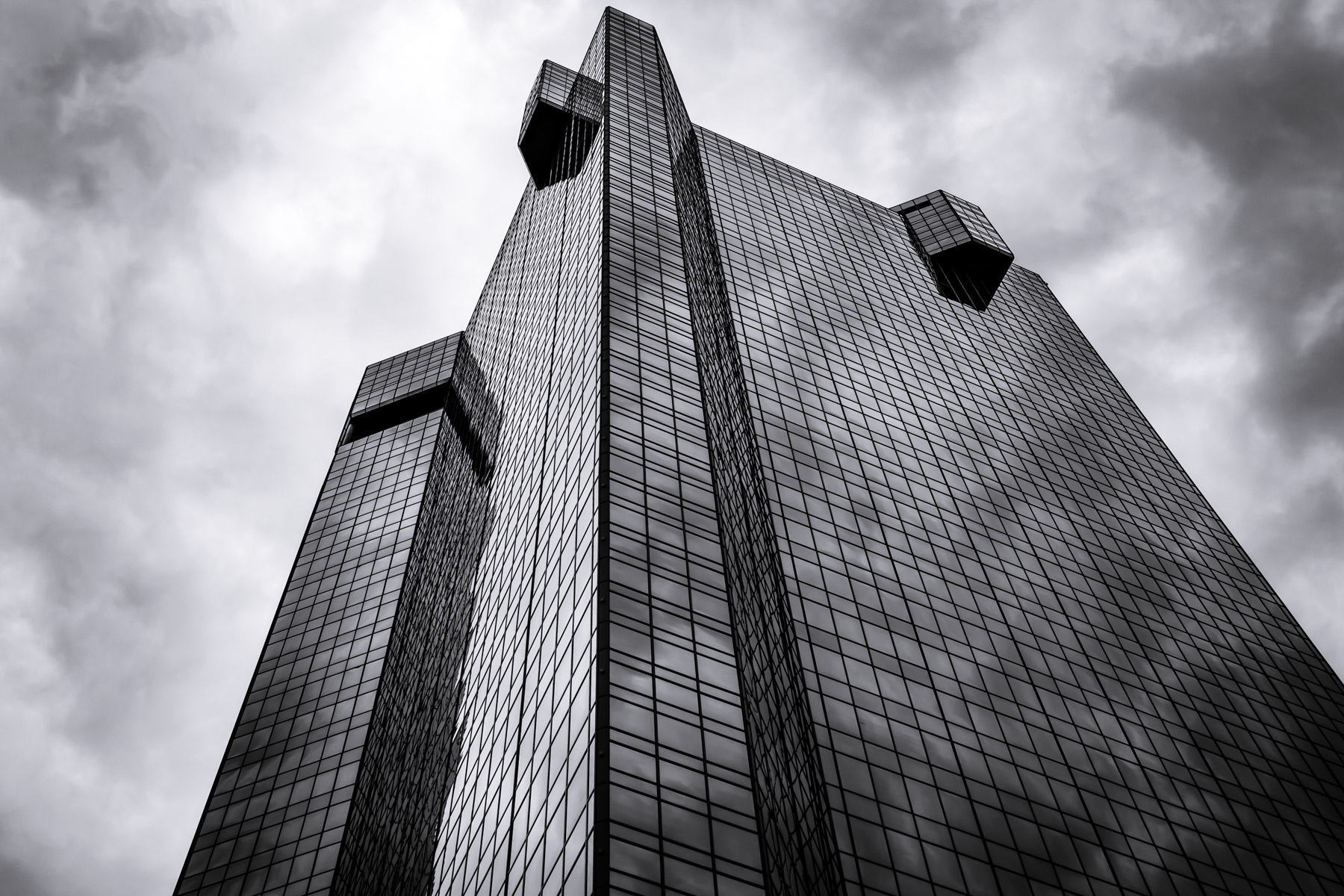 The D.R. Horton Tower rises into the sky in Downtown Fort Worth, Texas.