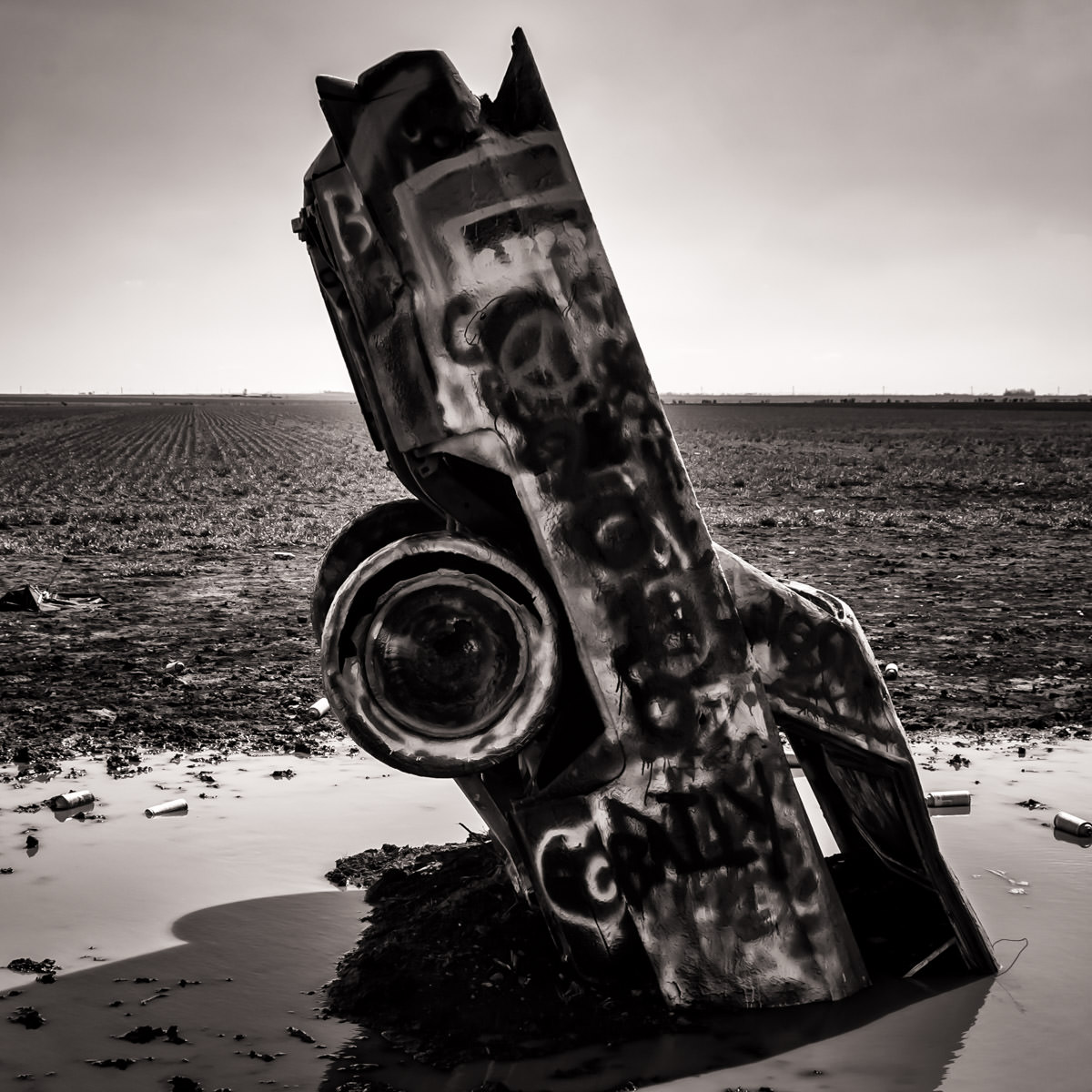 One of the ten Cadillacs at Amarillo, Texas' Cadillac Ranch, stuck nose-first in mud.