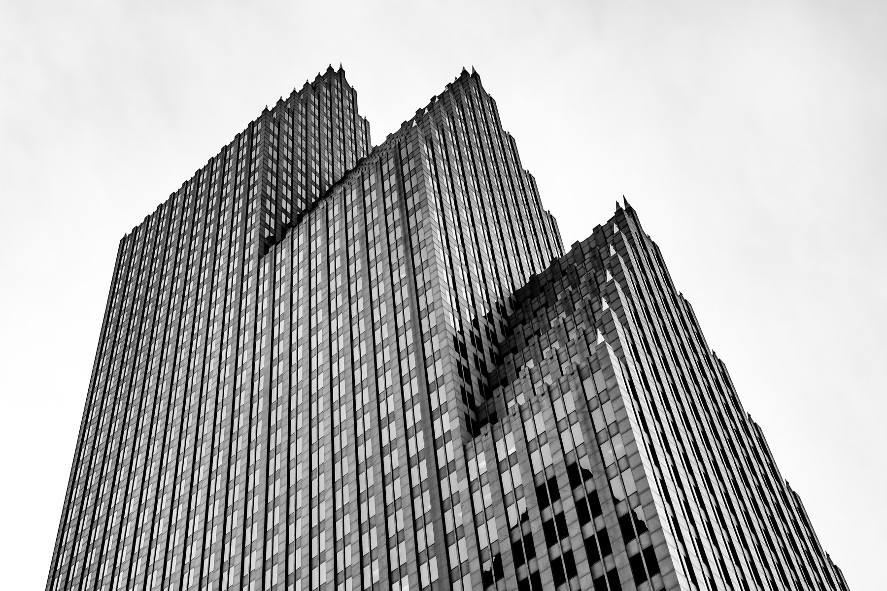 The Philip Johnson-designed, 780-foot-tall Bank of America Center rises into the sky over Downtown Houston.