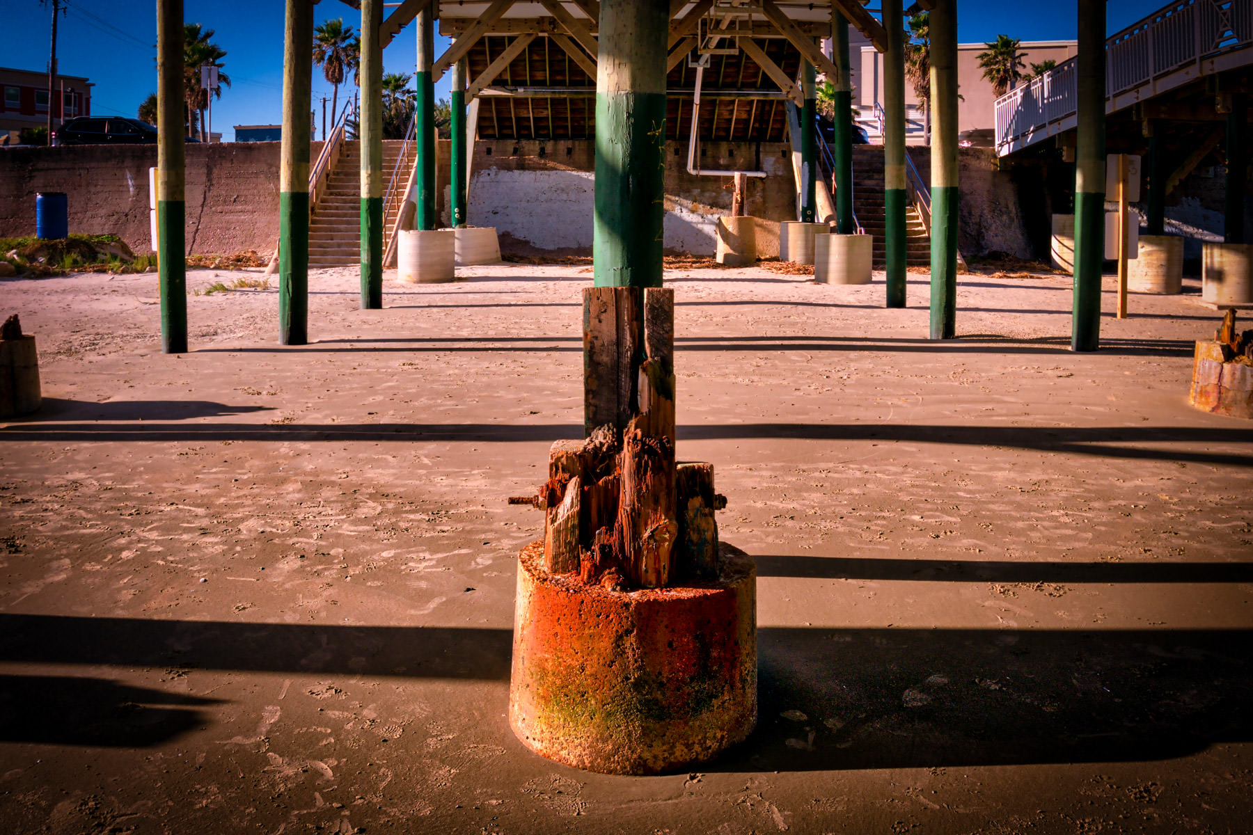A well-worn piling supporting Galveston, Texas' Pleasure Pier.