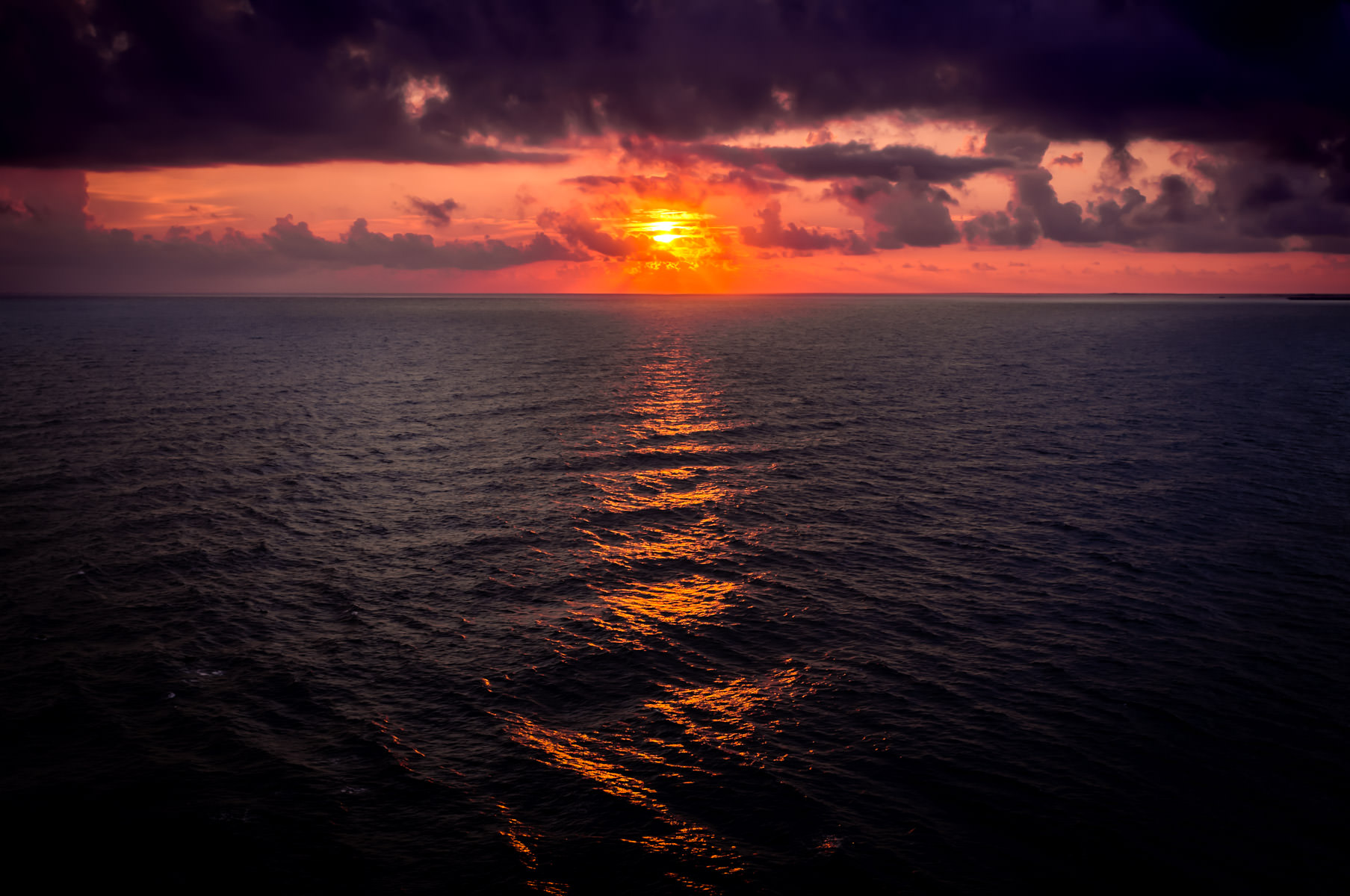 The sun rises over the Cozumel Channel—the narrows separating Isla Cozumel from the Mexican Mainland.