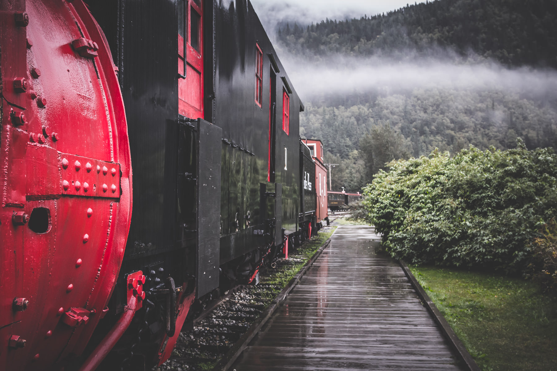 Railcars of the White Pass & Yukon Route Railway on a wet, misty morning in Skagway, Alaska.