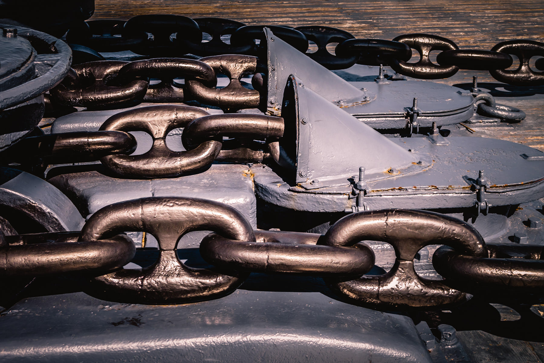 Anchor chains on the battleship USS Texas, now a museum ship near Houston.