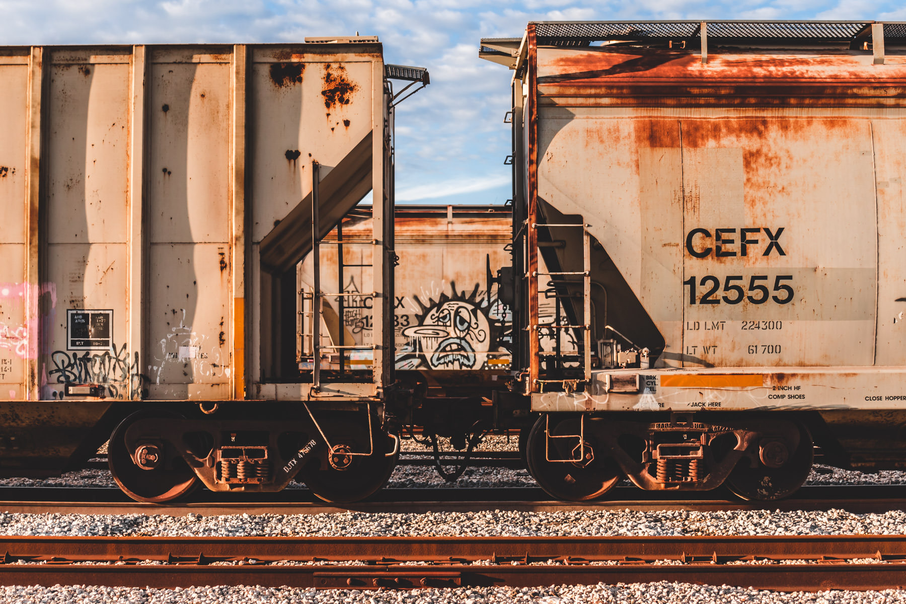 Graffiti spotted on a railcar in a Galveston, Texas, railyard.