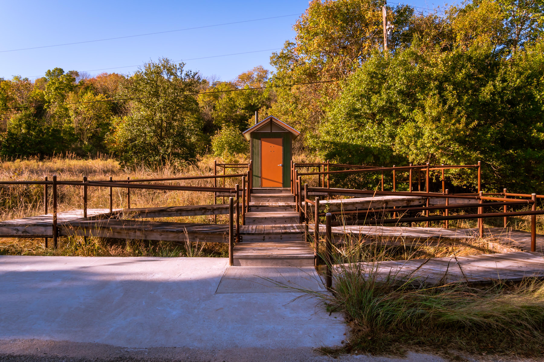 An elaborate ramp weaves it way to a small utility building at the Fort Worth Nature Preserve, Texas.