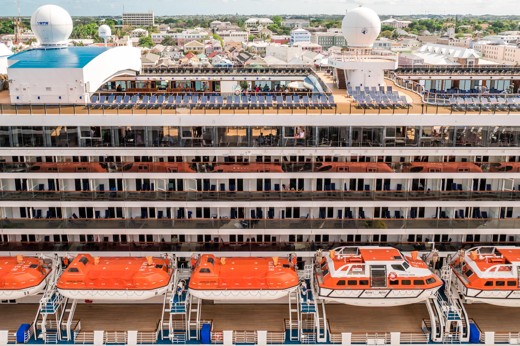 Detail of the midship section of the cruise ship Carnival Pride, docked in Nassau, Bahamas.