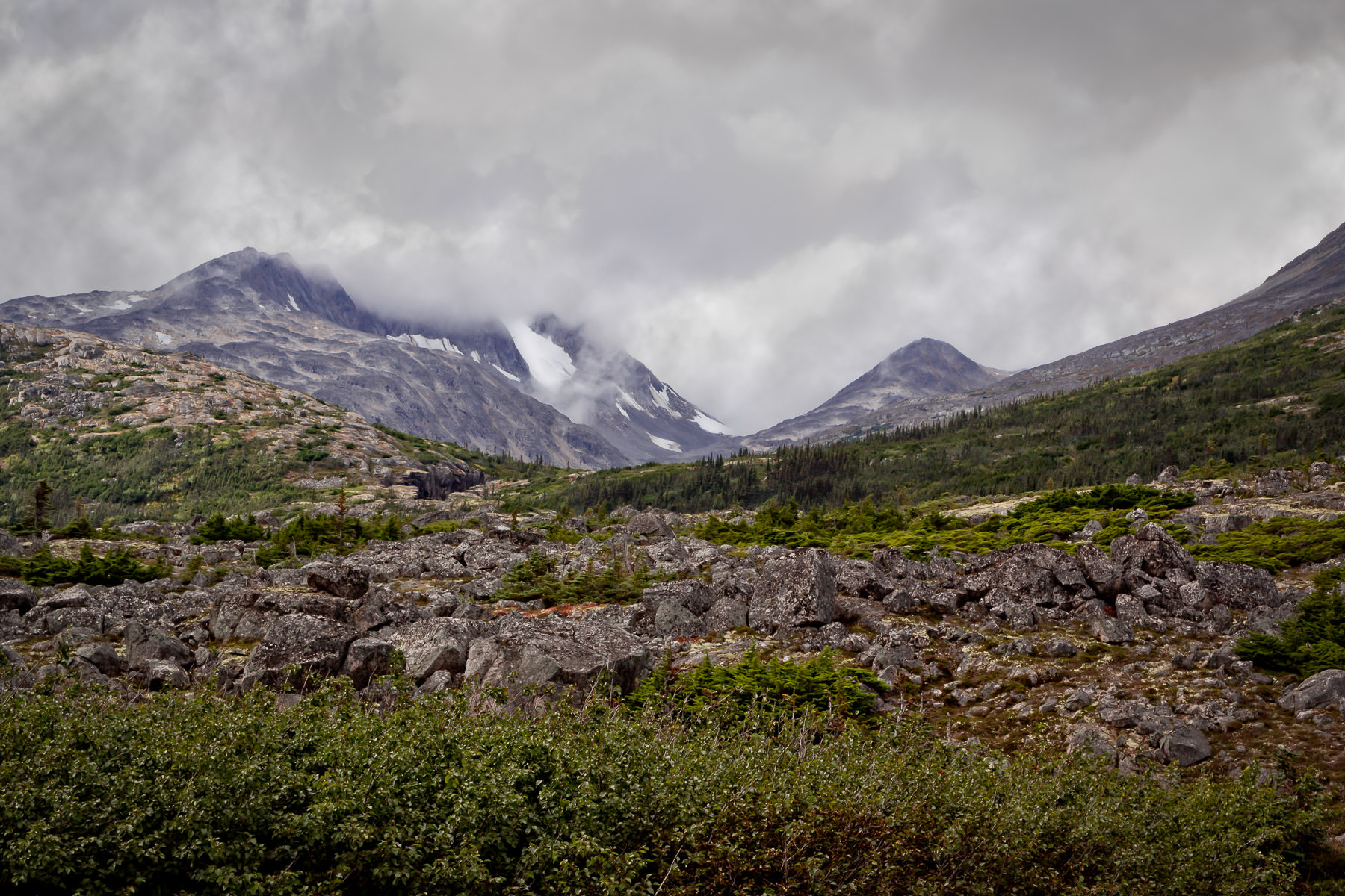 Mountains rise into cold, grey clouds in British Columbia's Stikine Region.