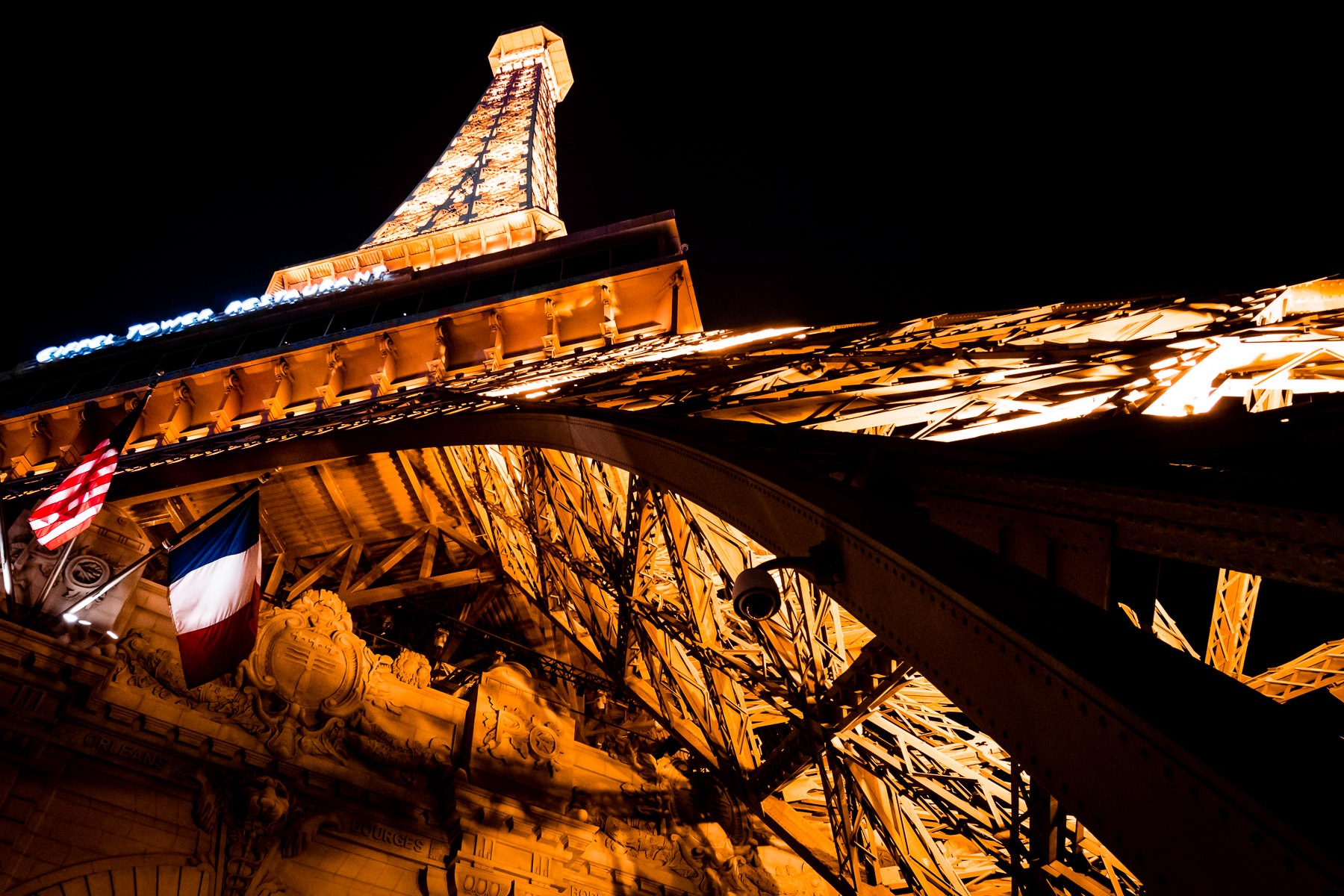 The replica Eiffel Tower at Paris Las Vegas rises into the night sky over Nevada.