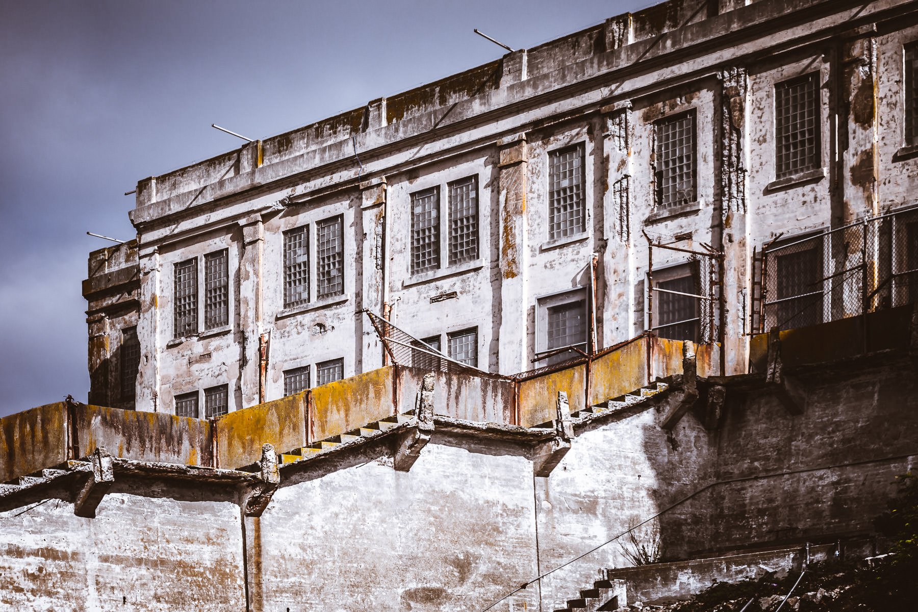 The main cell block at Alcatraz Prison in San Francisco decays in the elements.