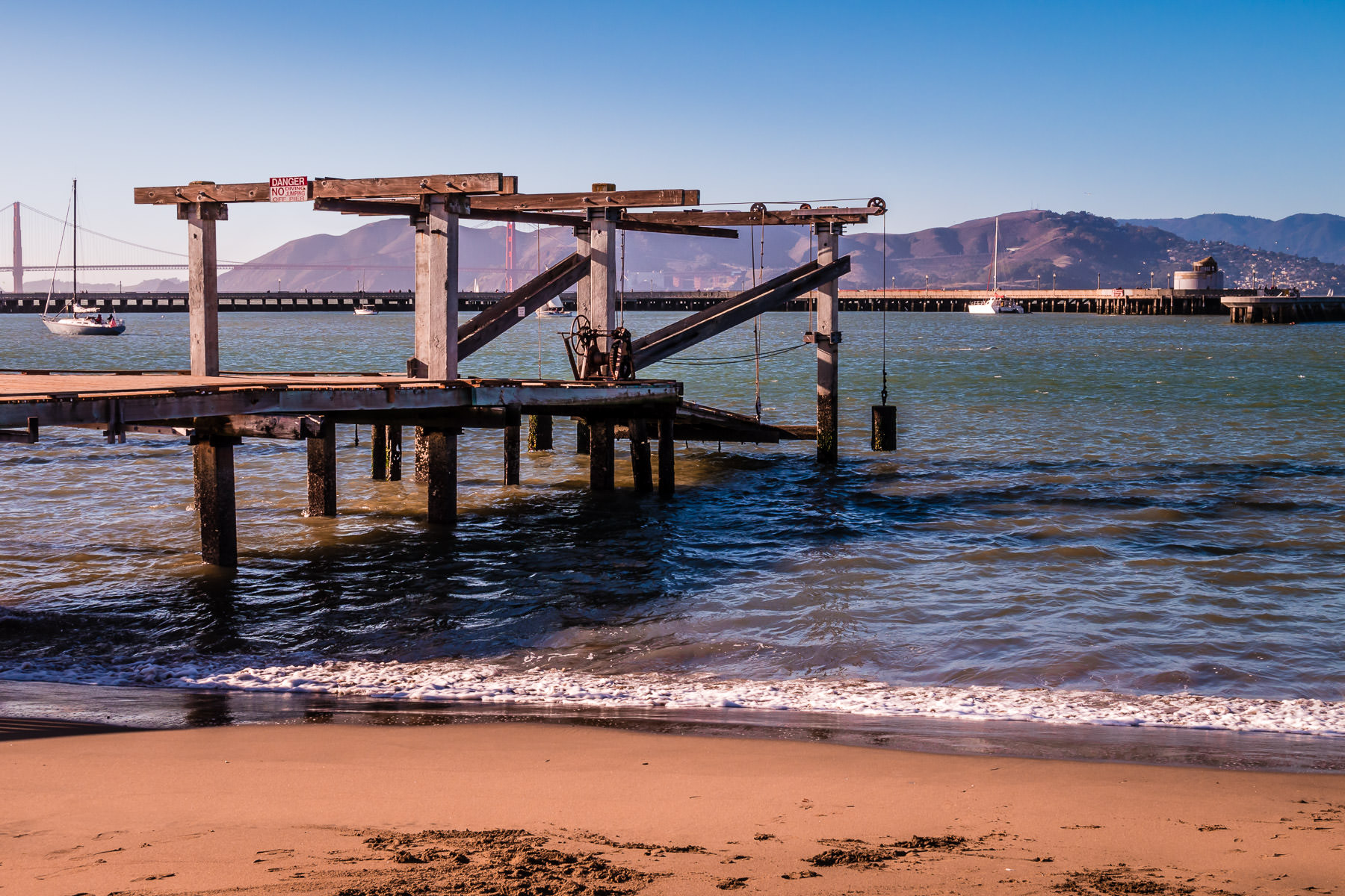 An adjustable pier reaches in the waters of San Francisco's Aquatic Park.