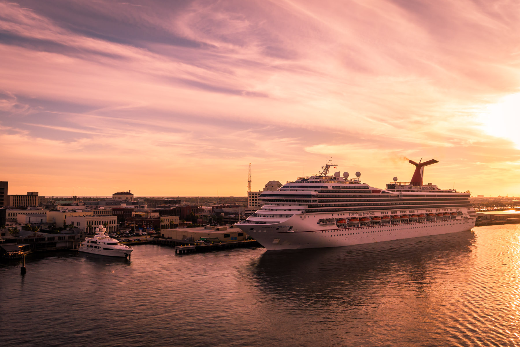 The cruise ship Carnival Freedom, docked in Galveston, Texas.