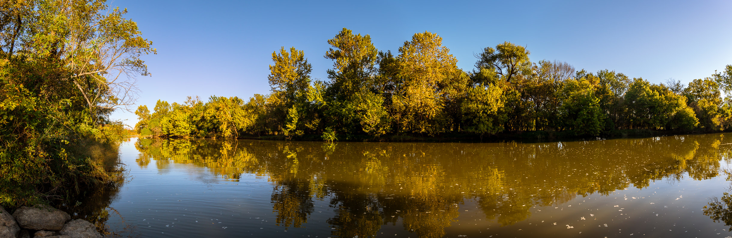 A panorama of a branch of Lake Worth at the Fort Worth Nature Center & Refuge, Texas.