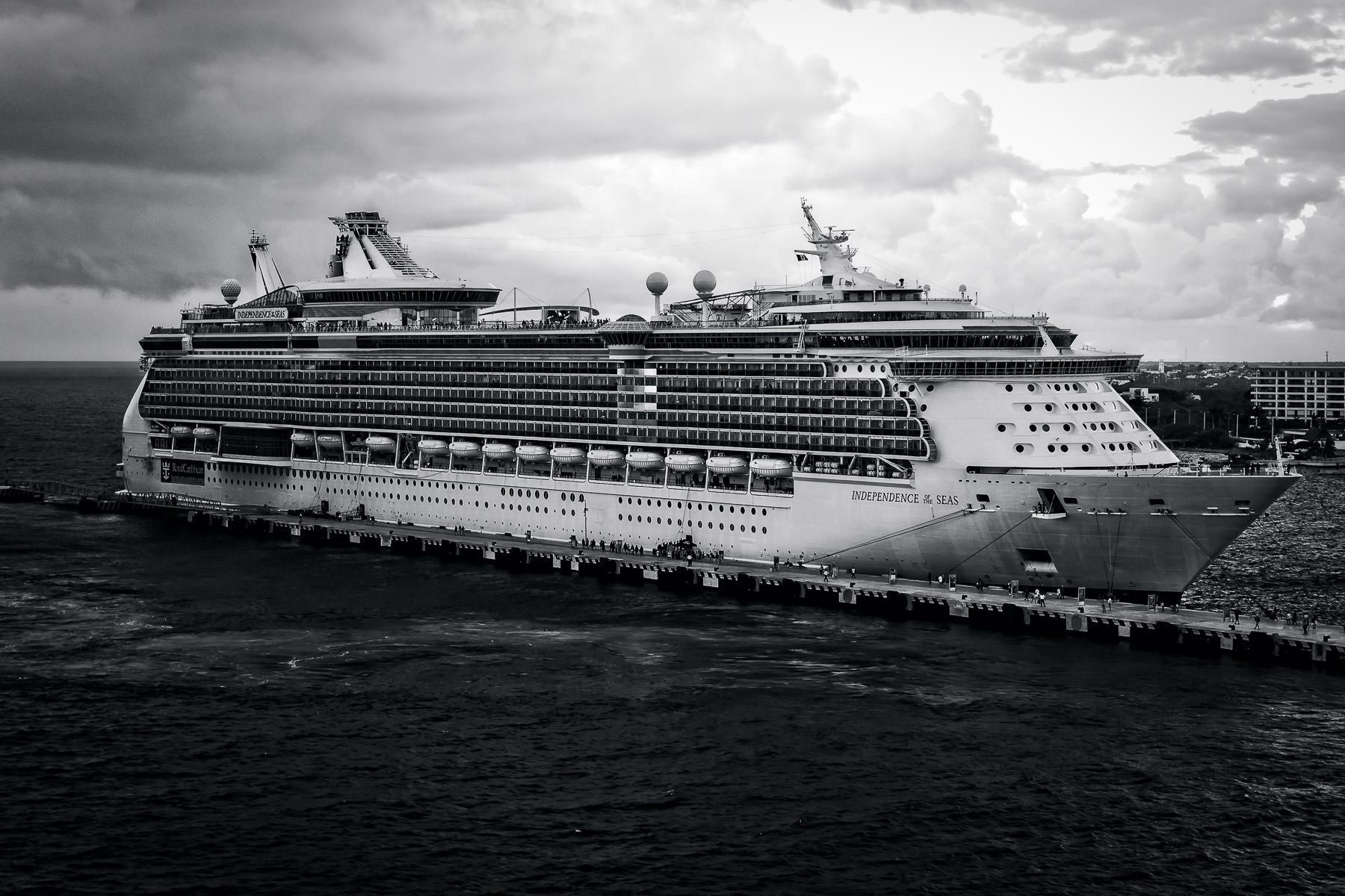 The Royal Caribbean cruise ship Independence of the Seas, docked in Cozumel, Mexico.