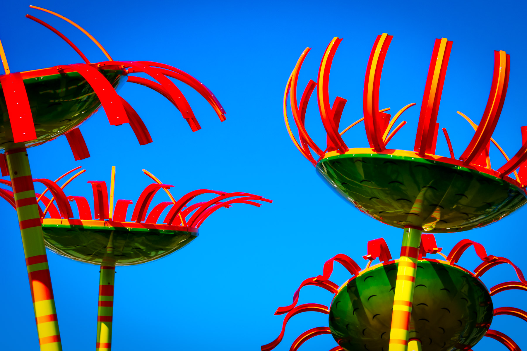 Detail of artist Dan Corson's Sonic Bloom, a sculpture in the Seattle Center adjacent to the Space Needle that react to viewers' movement by emitting various harmonic tones.
