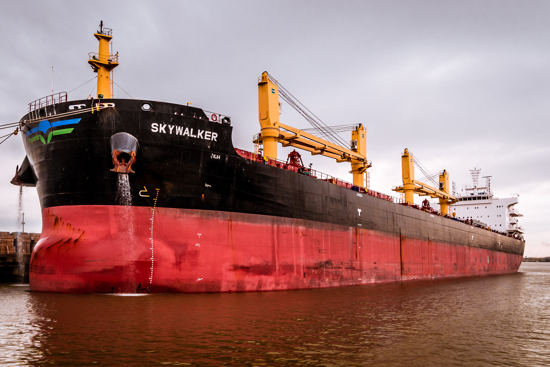 The bulk carrier Skywalker—undoubtedly named by a Star Wars fan—lies docked in the Port of Houston, Texas.