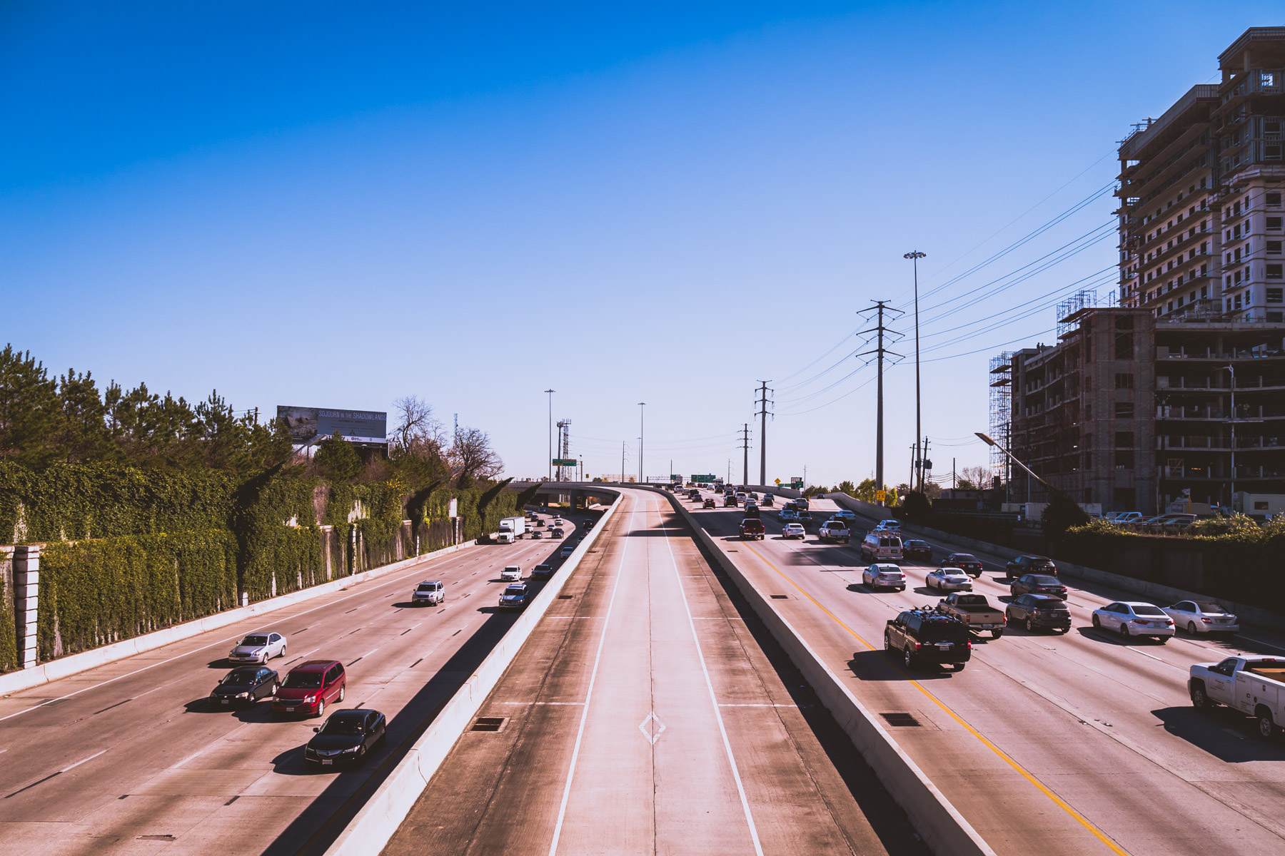 Traffic traverses US 59—known locally as the Southwest Freeway—south of Downtown Houston.