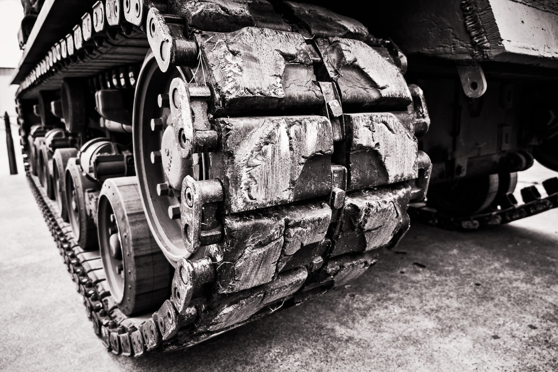 Detail of a M50 Super Sherman tank's tracks at the Cavanaugh Flight Museum, Addison, Texas.